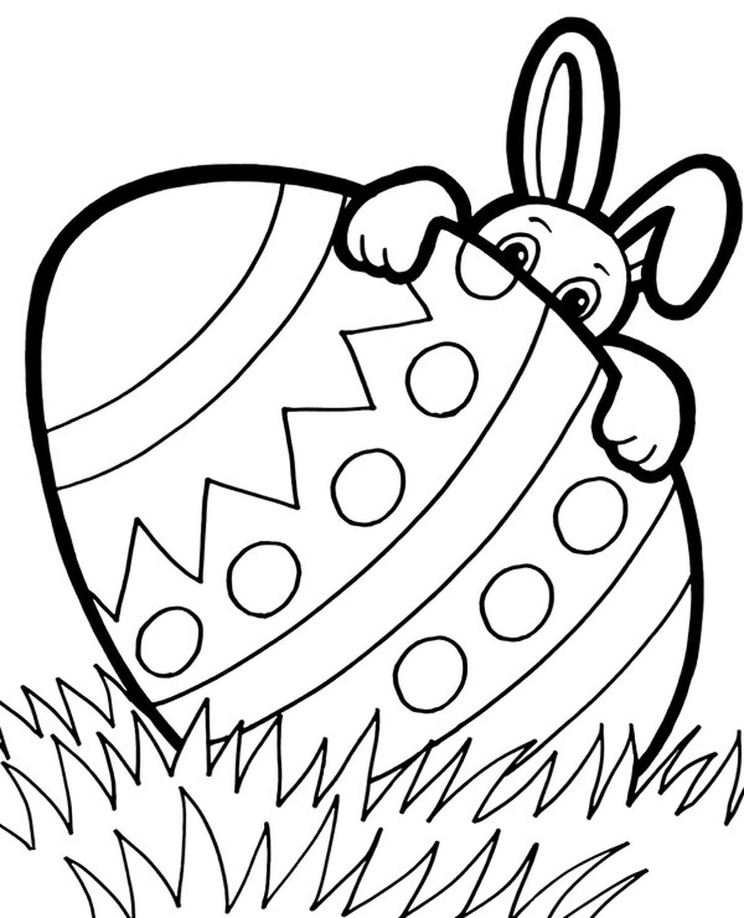 Easter Bunny Hiding Behind The Egg Coloring Page