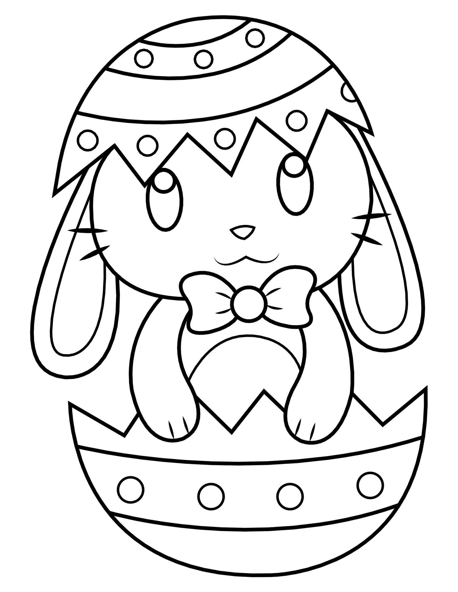 Easter Bunny In Easter Egg Coloring Page