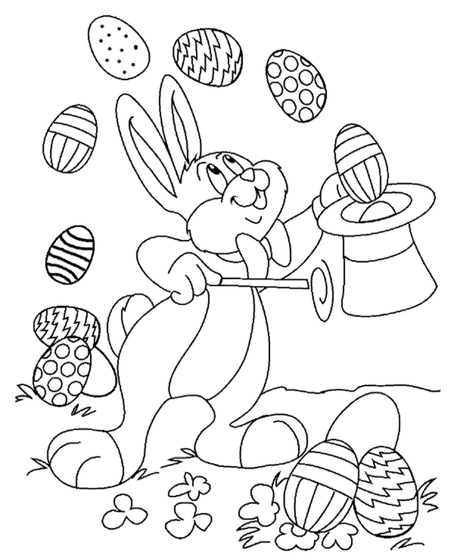 Easter Bunny Showing Magic Tricks With Easter Eggs Coloring Sheet