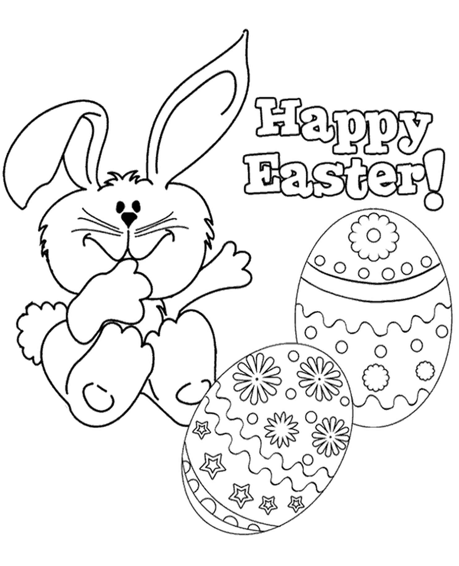 Easter Bunny Wishing You Happy Easter Coloring Page