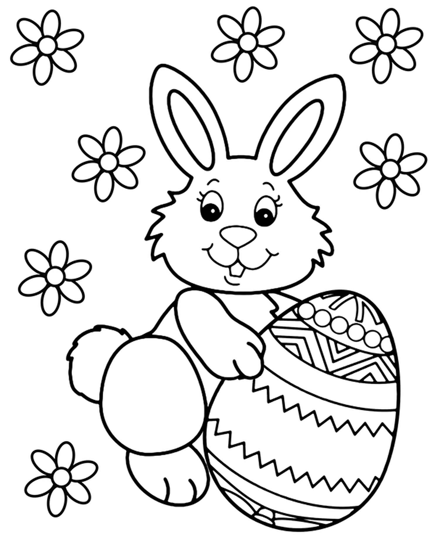 Easter Bunny With An Egg Coloring Page
