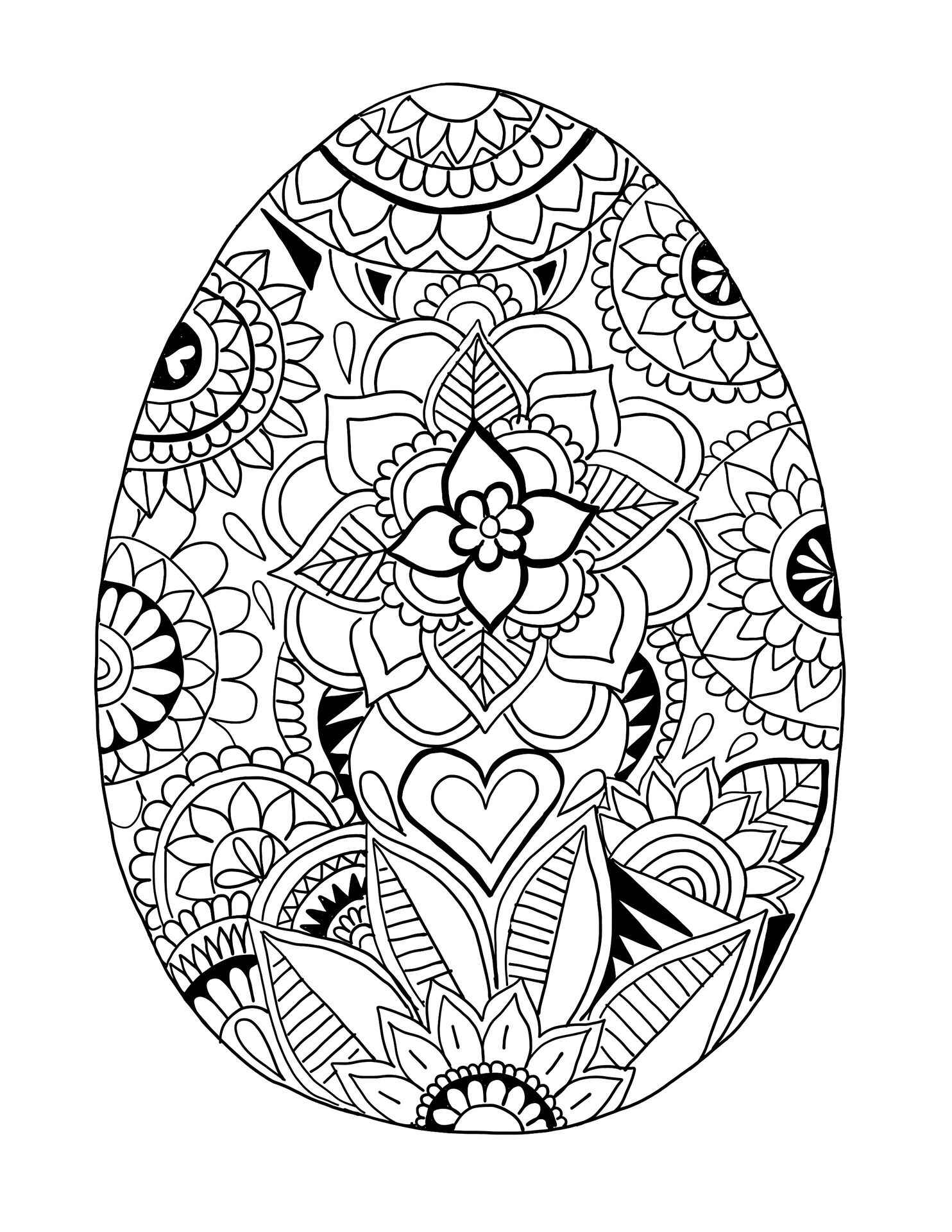 Easter Egg Coloring Page Patterned With Flowers