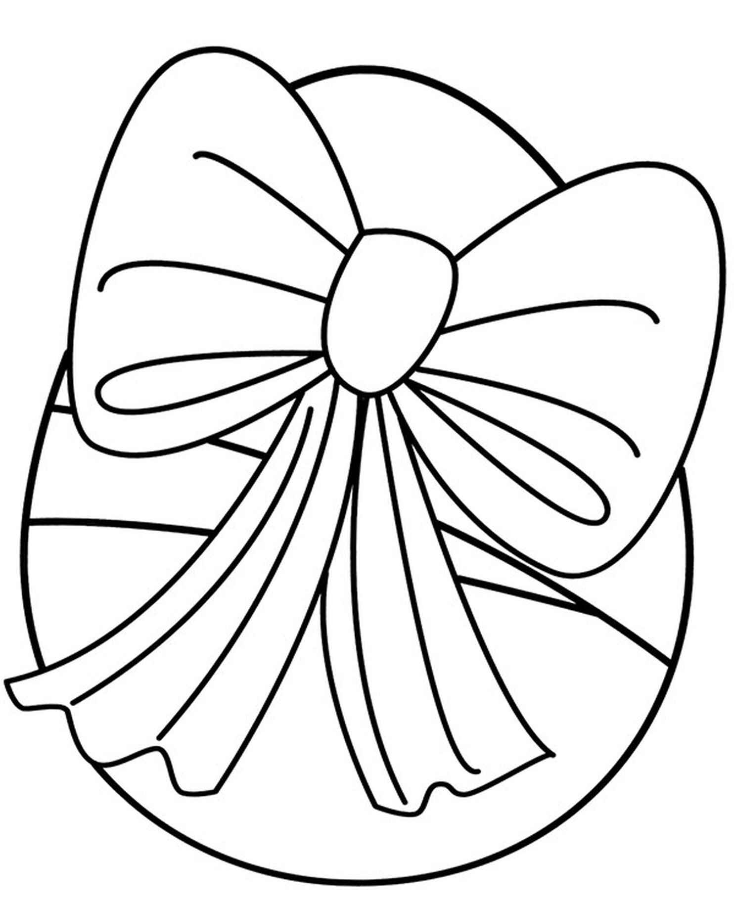 Easter Egg With A Ribbon Coloring Page