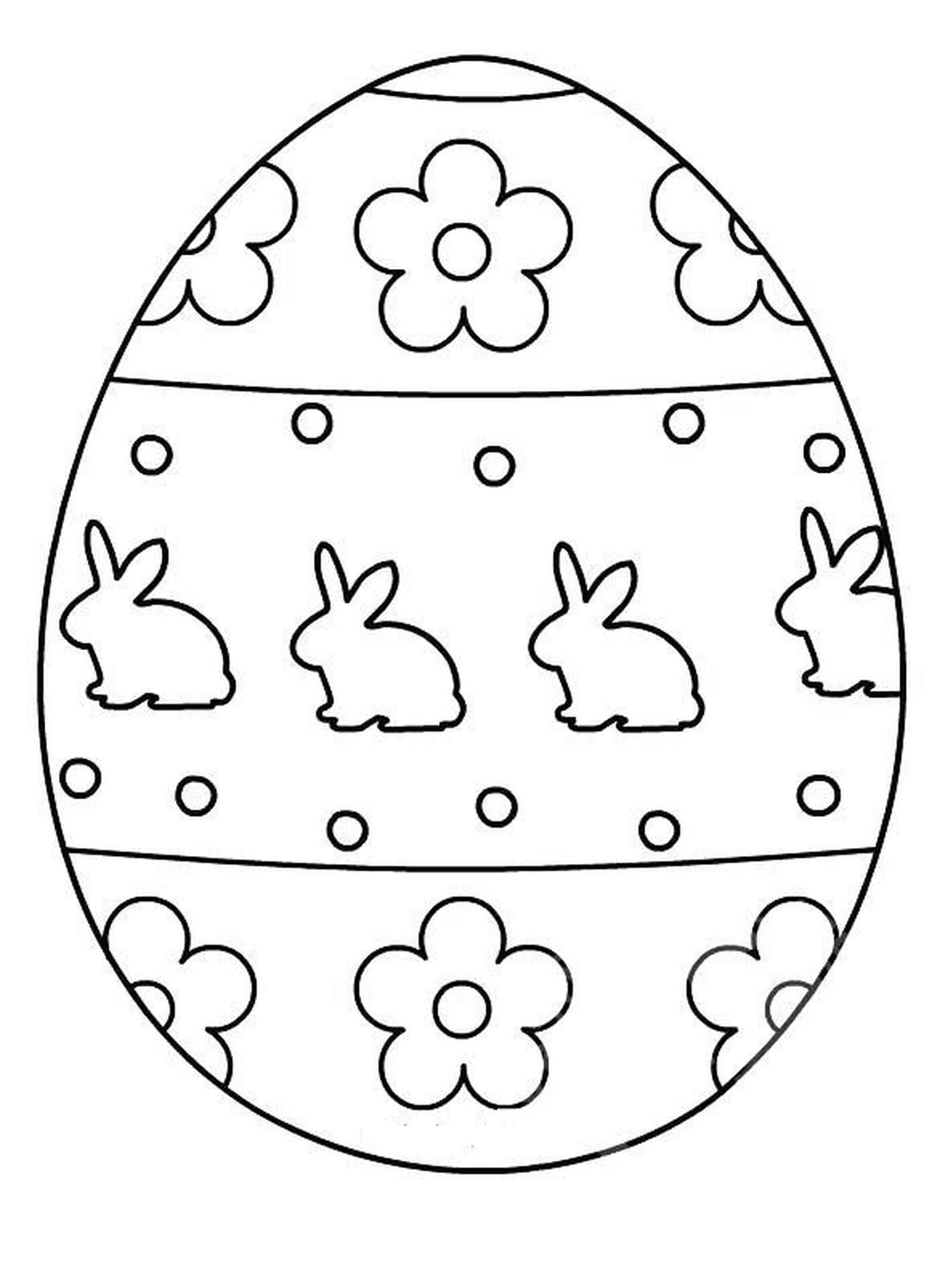 Easter Egg With Bunnies And Flowers Coloring Page