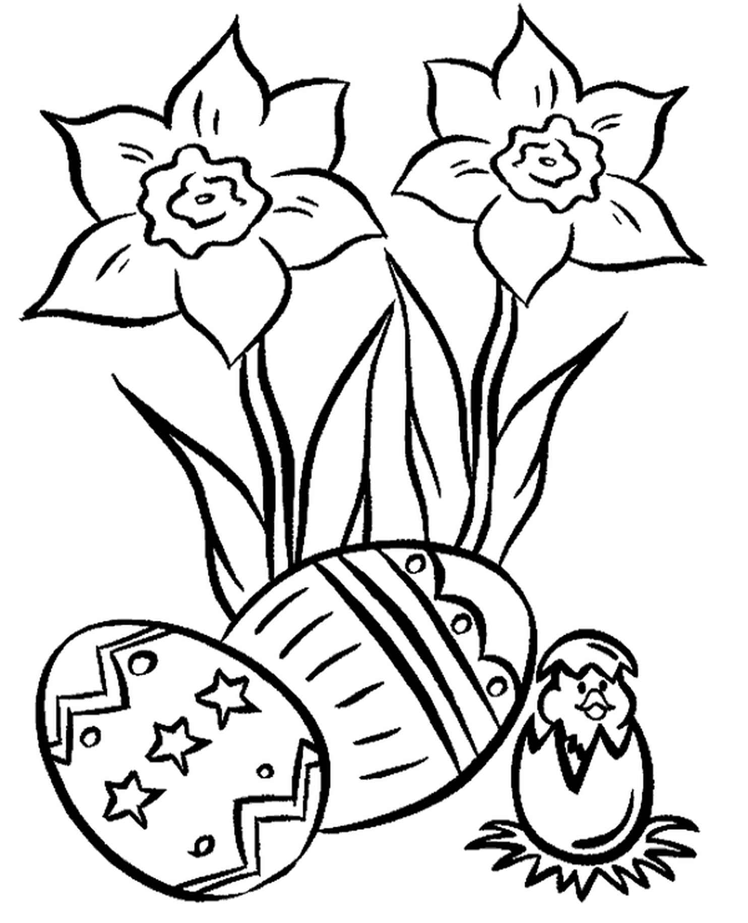Easter Eggs, Flowers And A Newborn Chicken