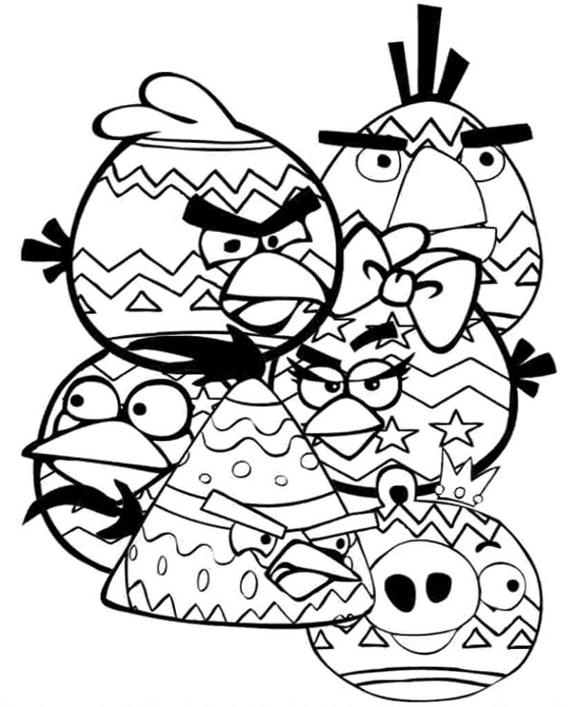 Easter Red, Mom, Chuck, Bomb, Matilda And King Pig All Together Coloring Sheets
