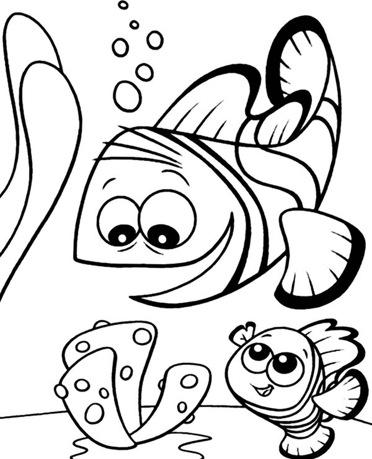 Easy Coloring Page Fish