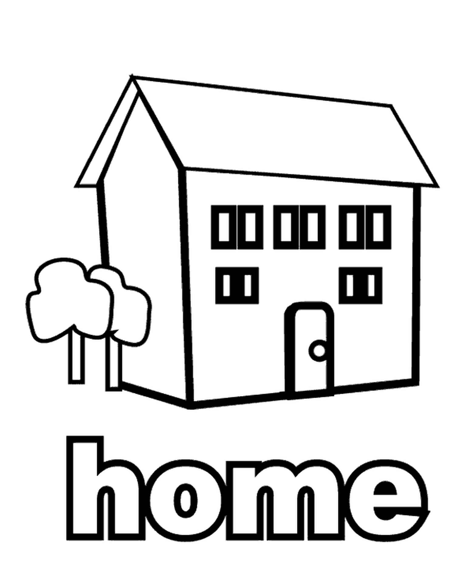 Easy Home Coloring Page