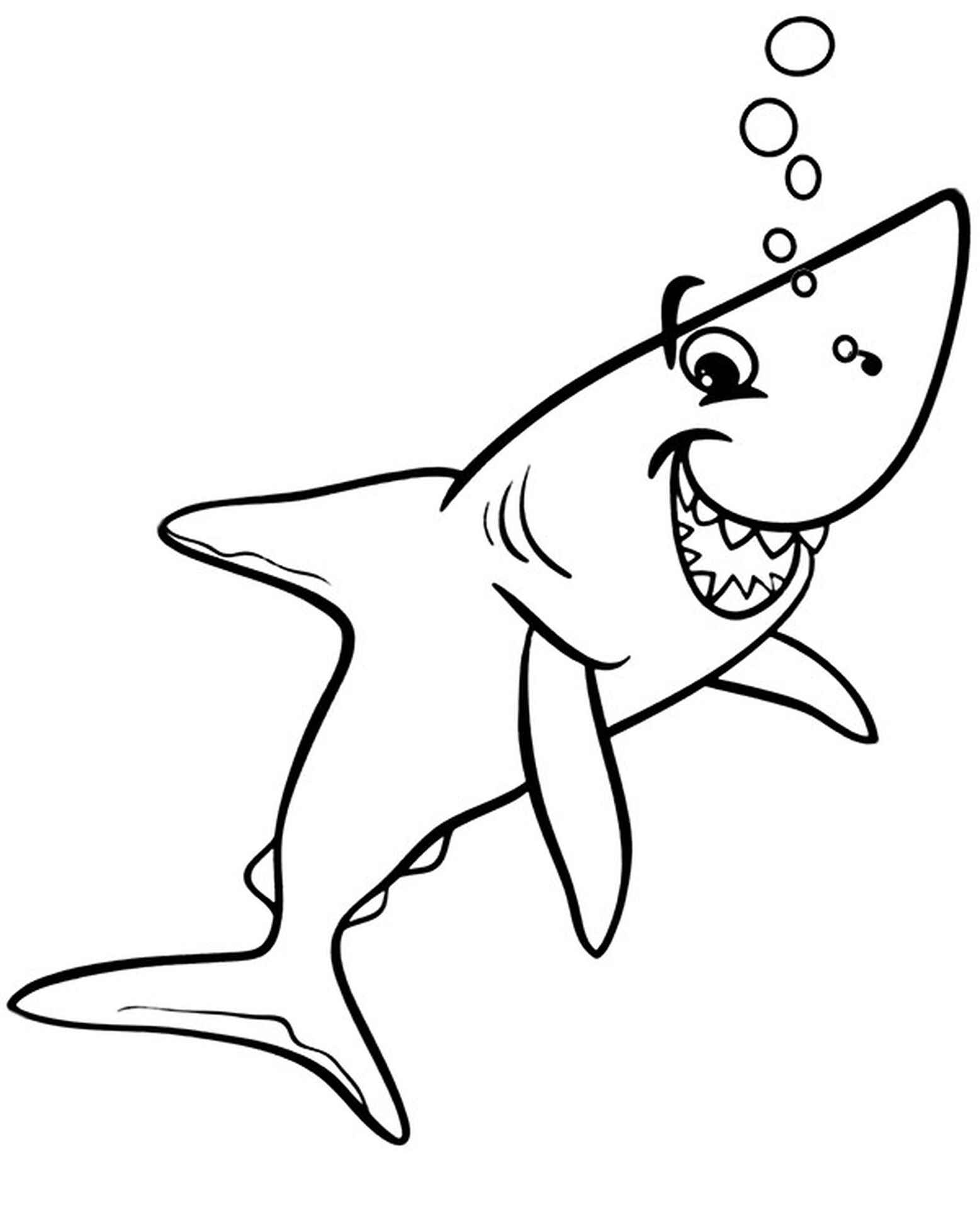Easy Shark Coloring Page
