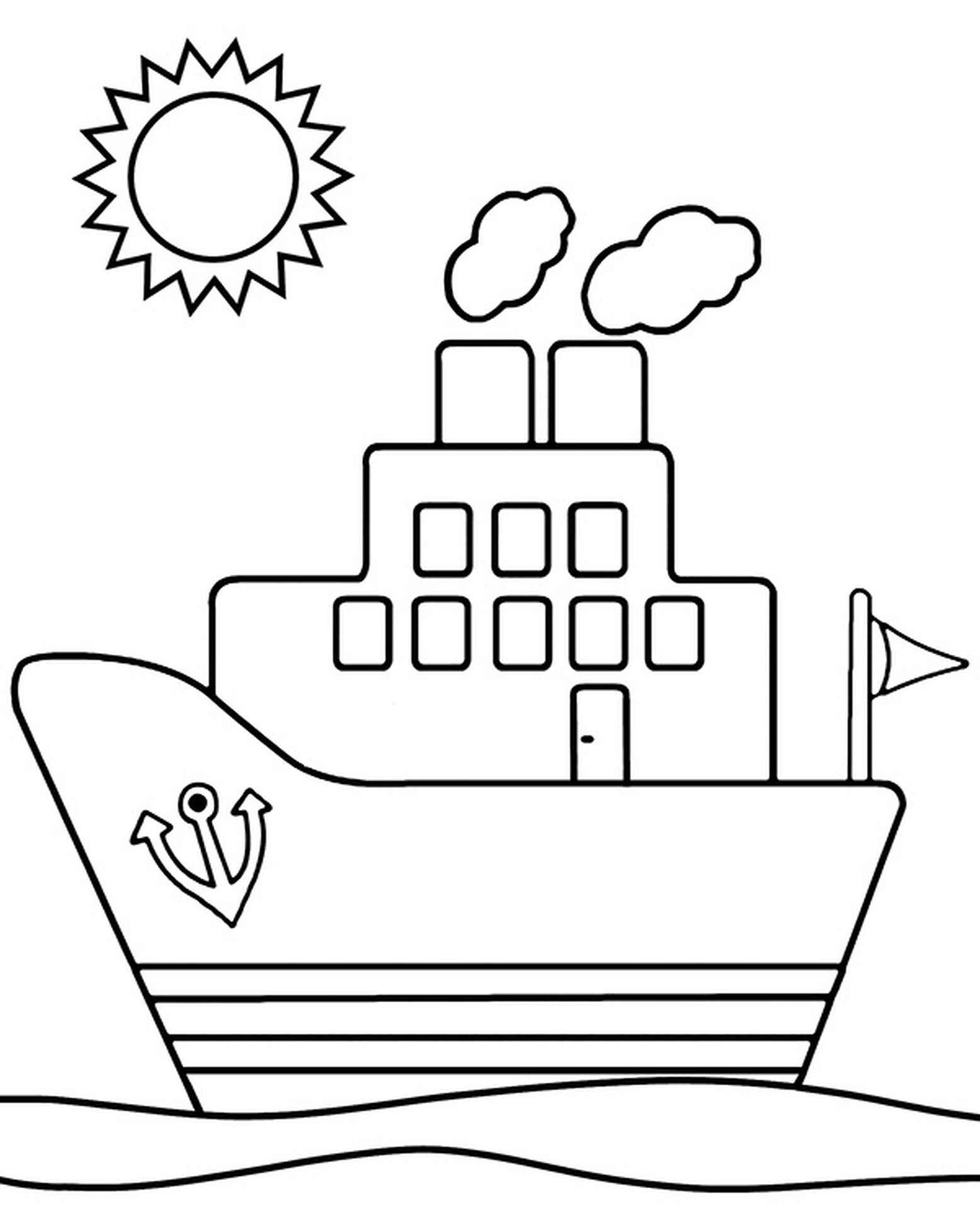 Easy Ship Coloring Page