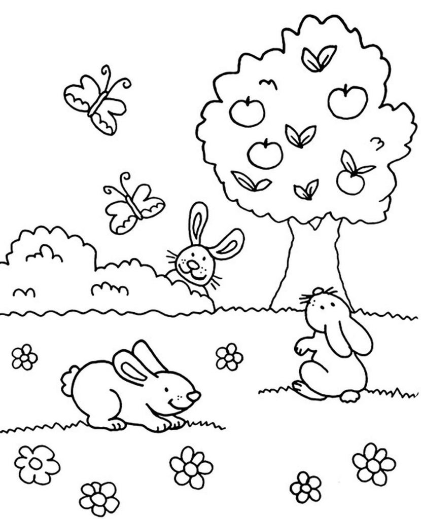 Easy Spring Coloring Page