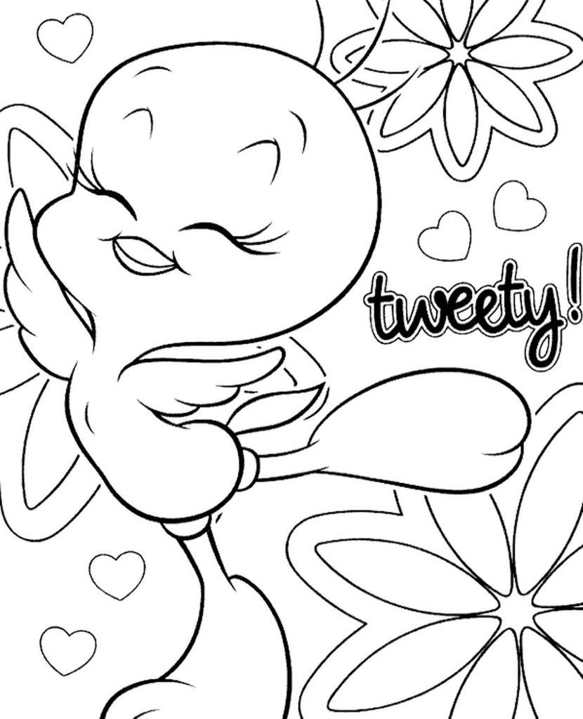 Easy To Color Canary Tweety