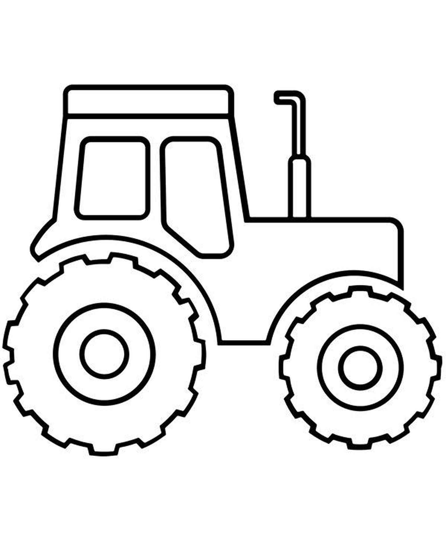 Easy Tractor Coloring Page