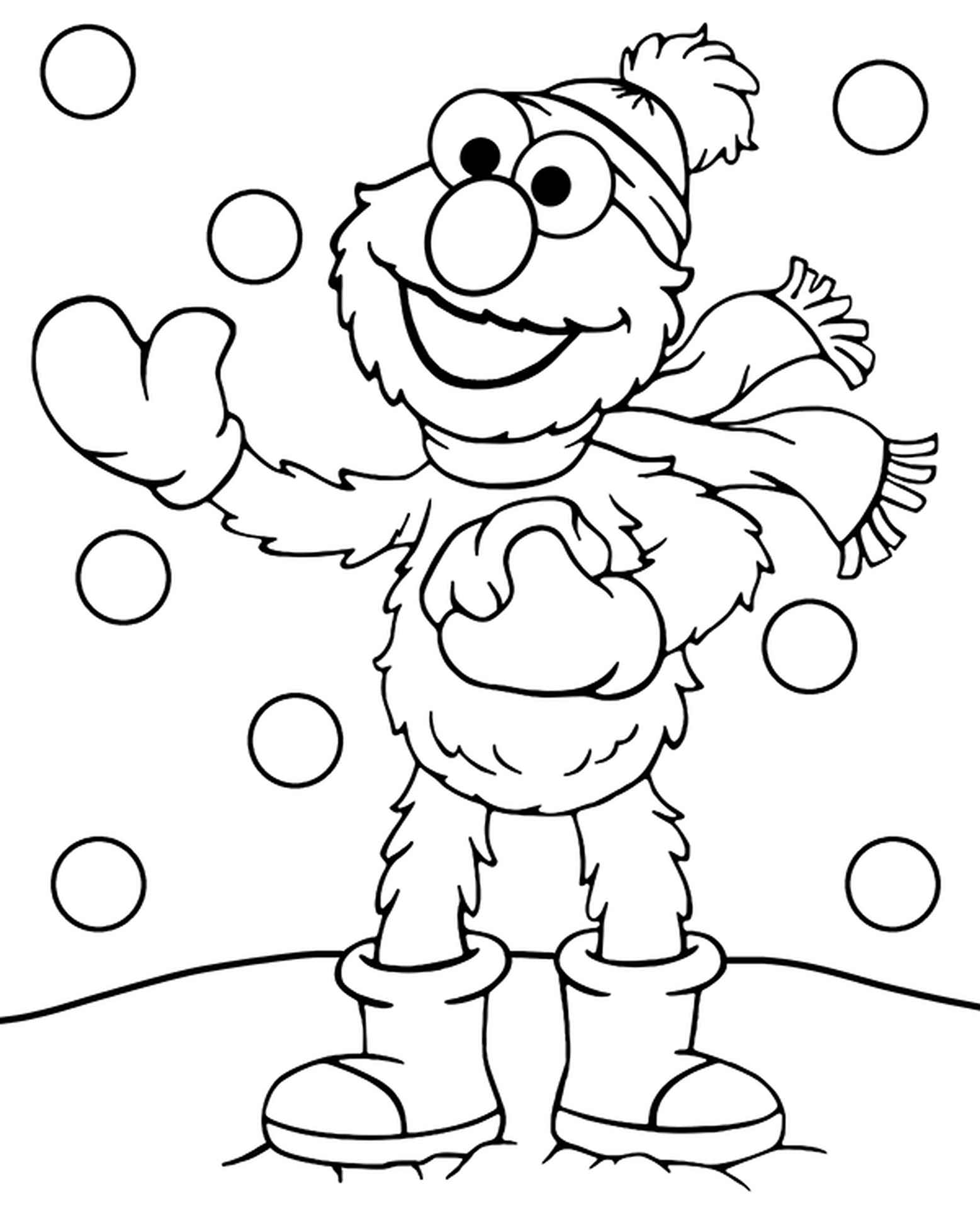 Elmo And Snow Coloring Page