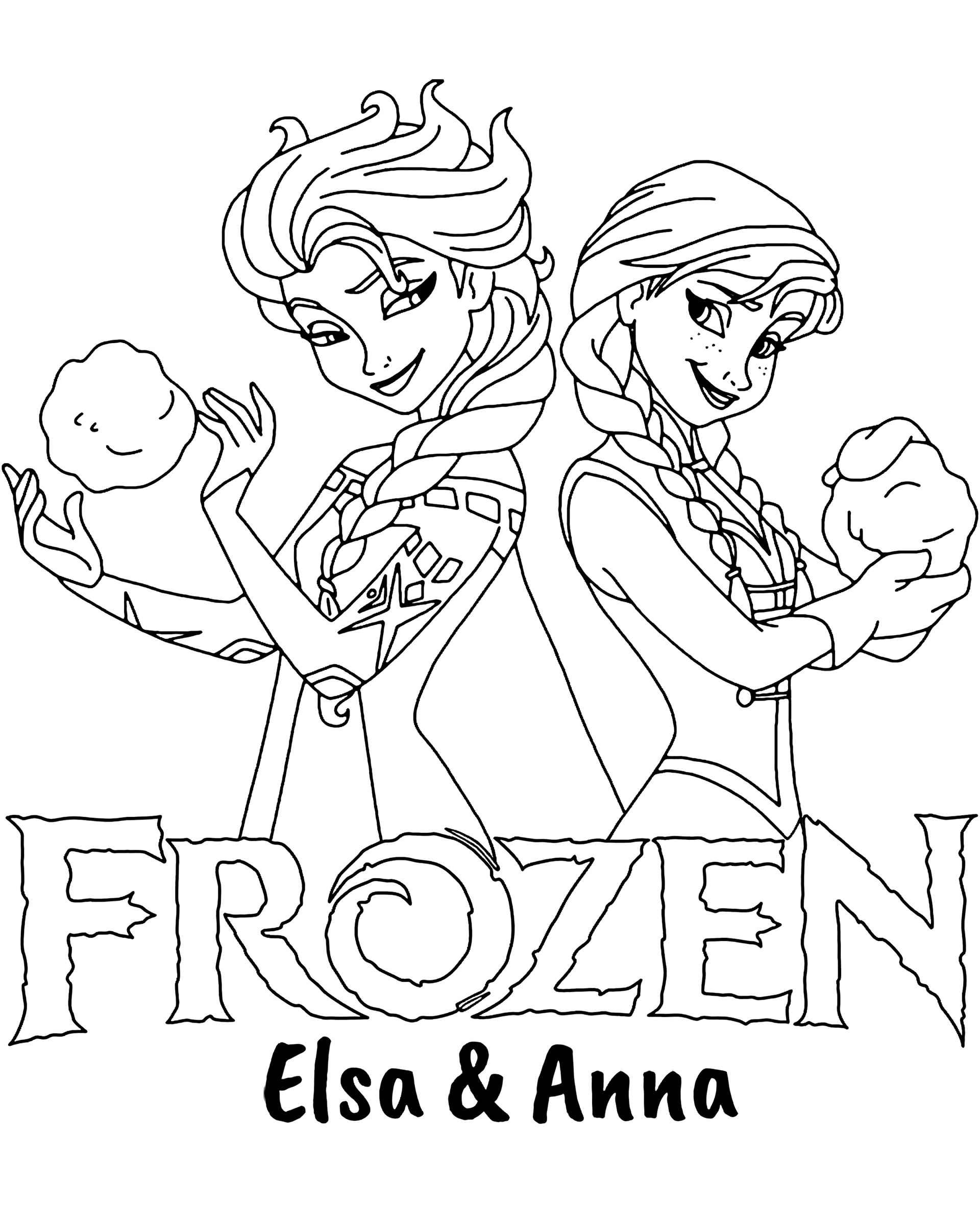 Elsa And Anna Frozen Logo Coloring Page