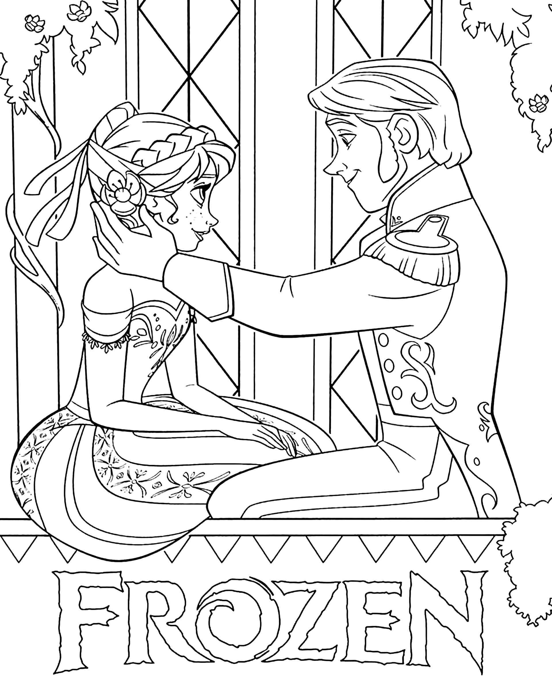 Elsa And Hans In Love Coloring Page