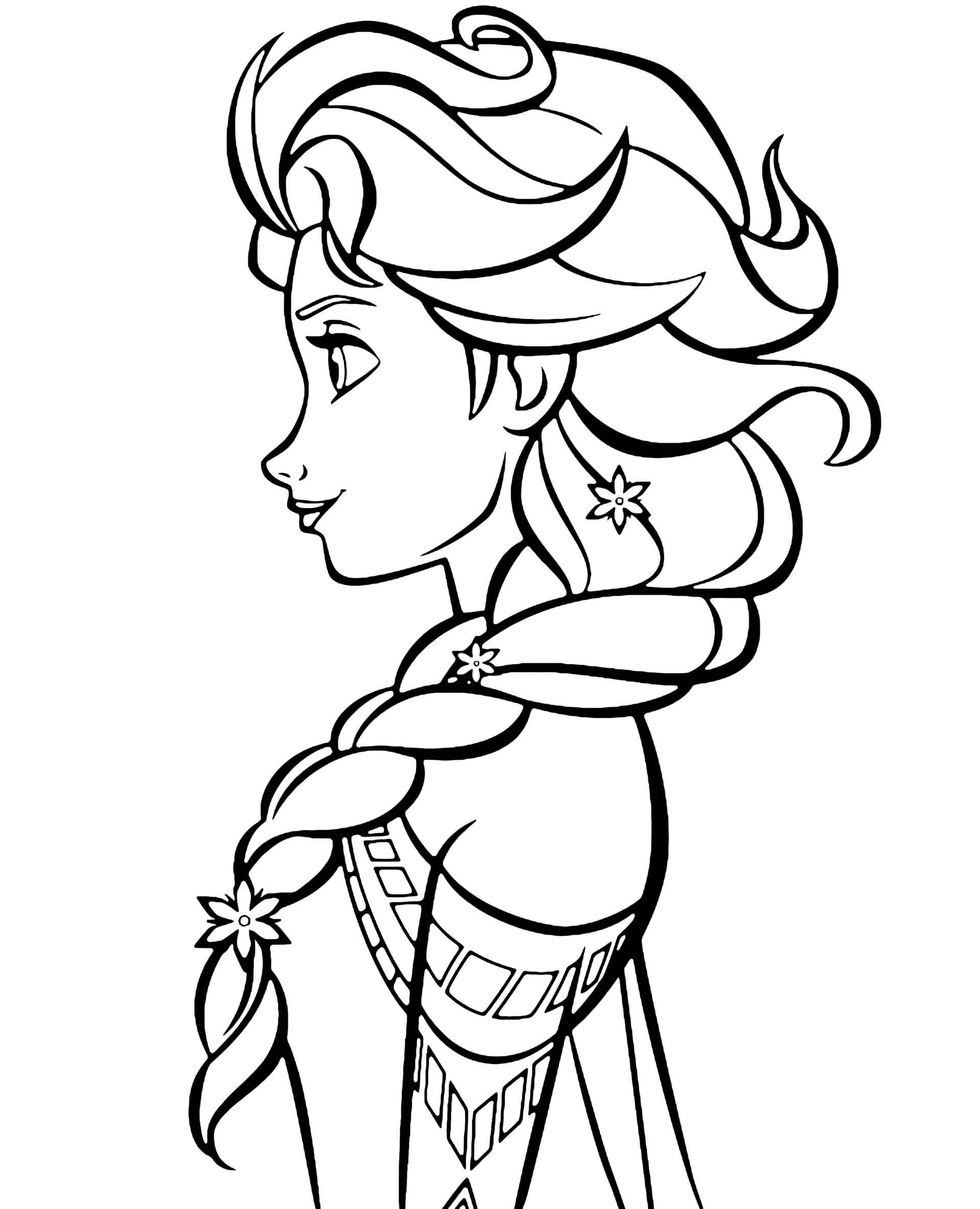 Elsa From Frozen Profile Coloring Page