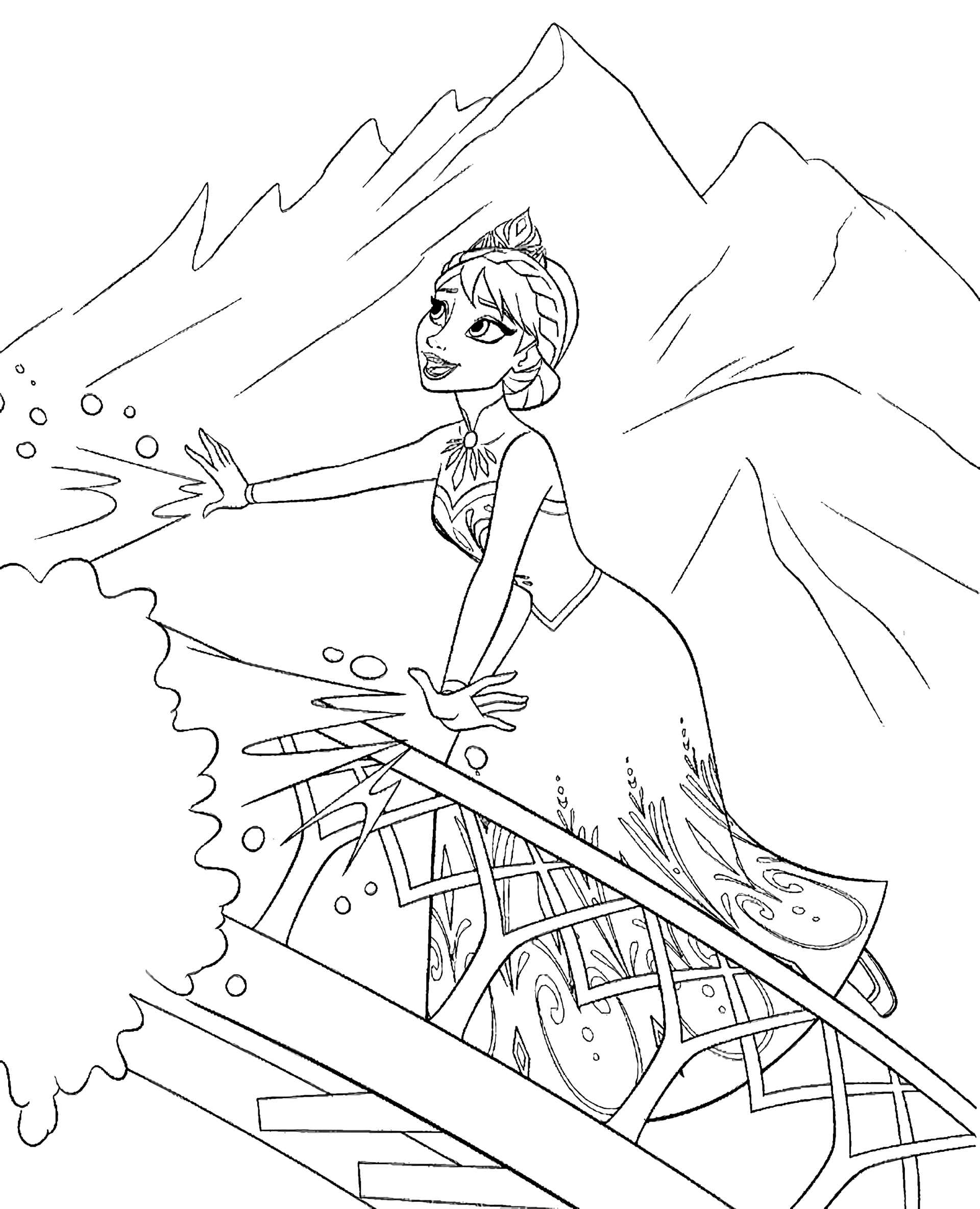 Elsa In The Mountains Coloring Page