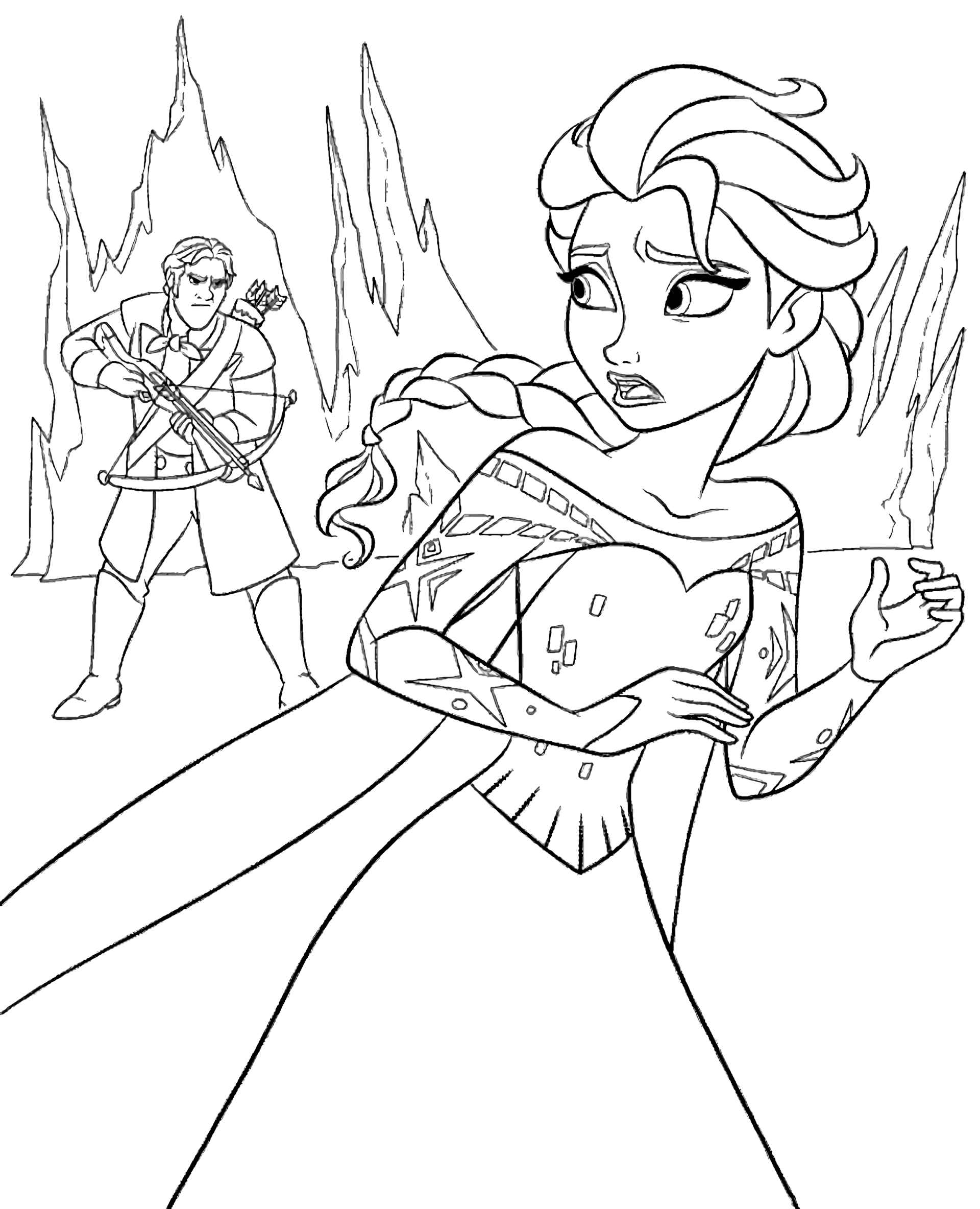 Elsa Running Away From Hans Coloring Page