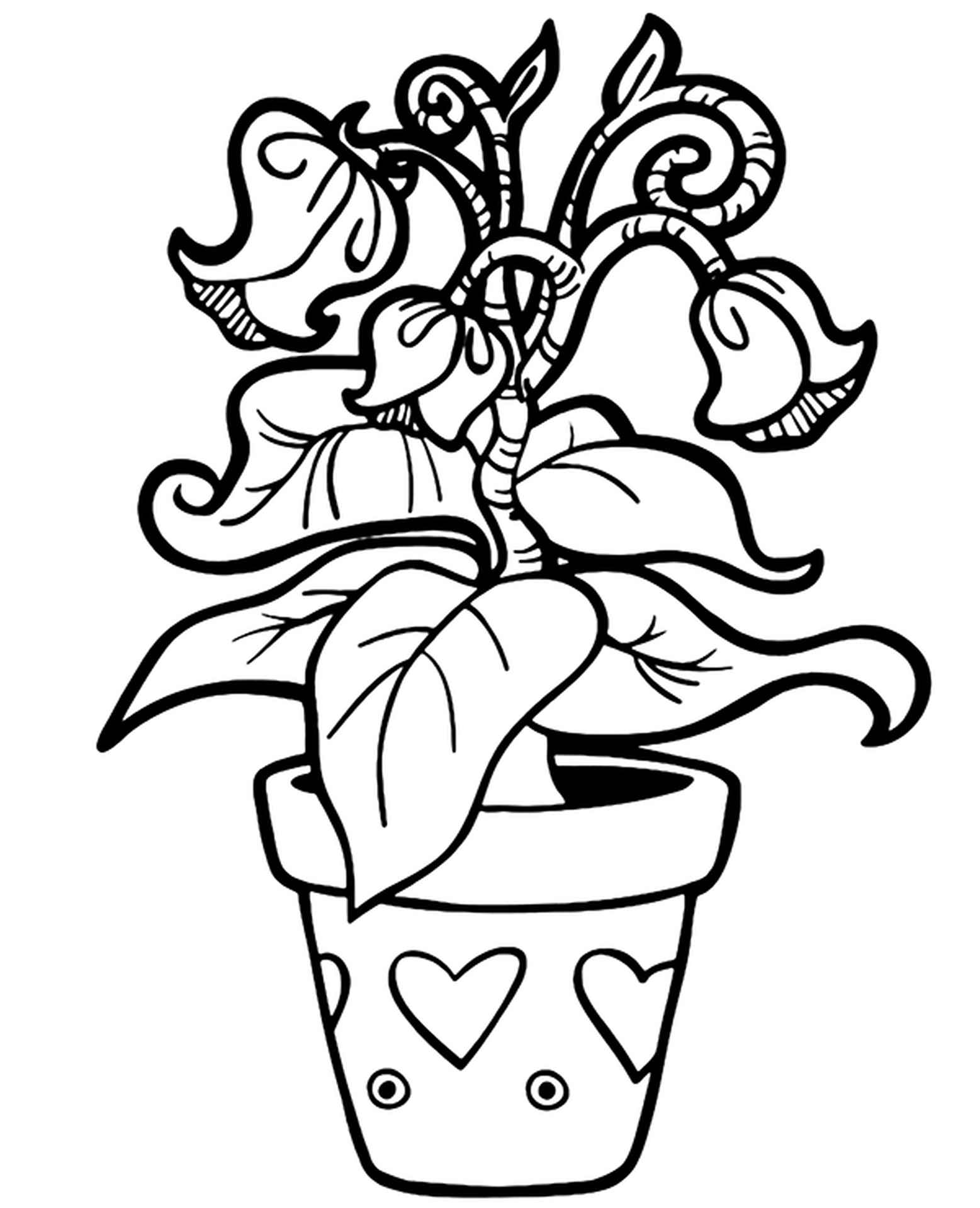 Exotic Flower In A Beautiful Pot Coloring Page