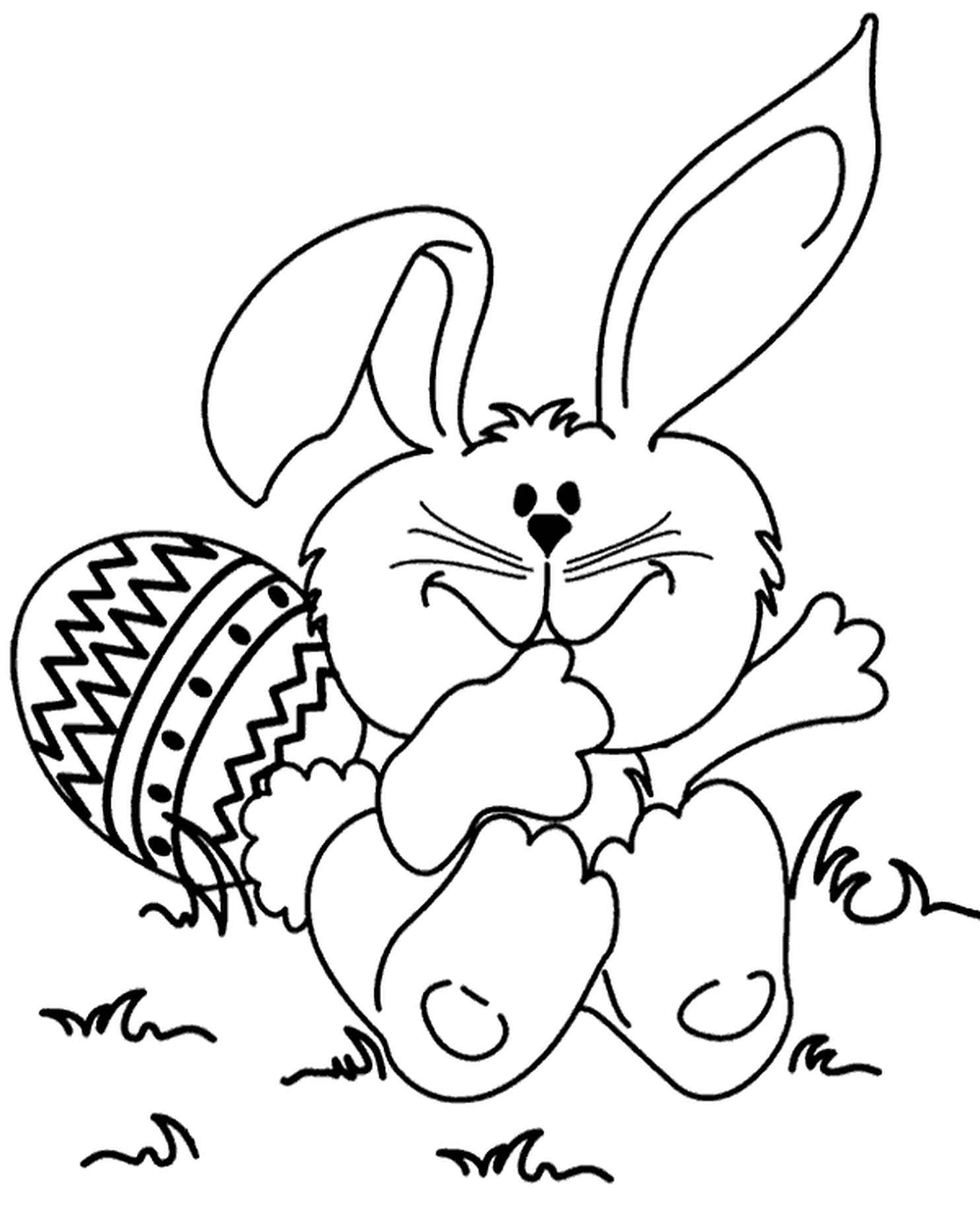 Fancy Easter Bunny Coloring Page