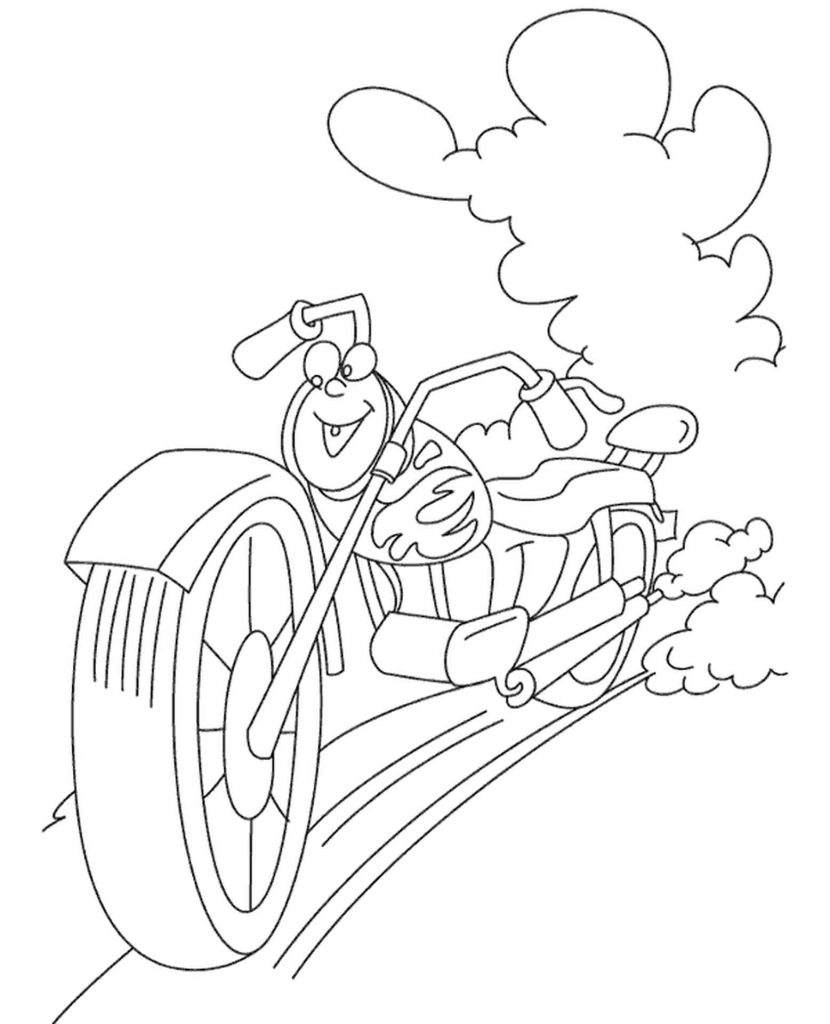 Fancy Motorbike Coloring Page For Kids