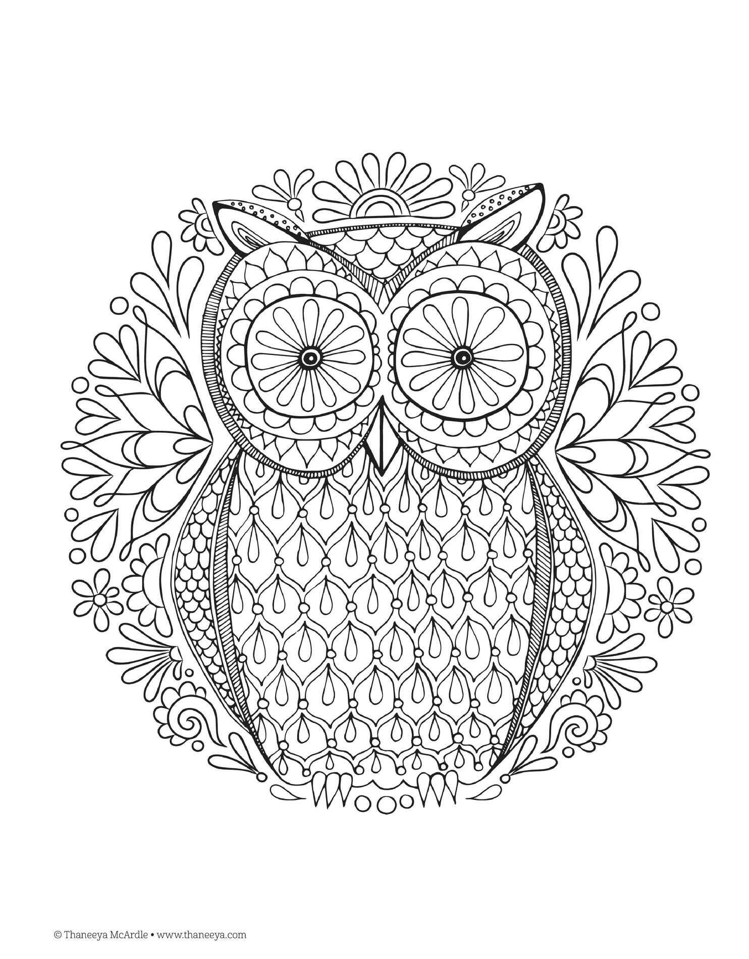 Fancy Owl Adult Coloring Page