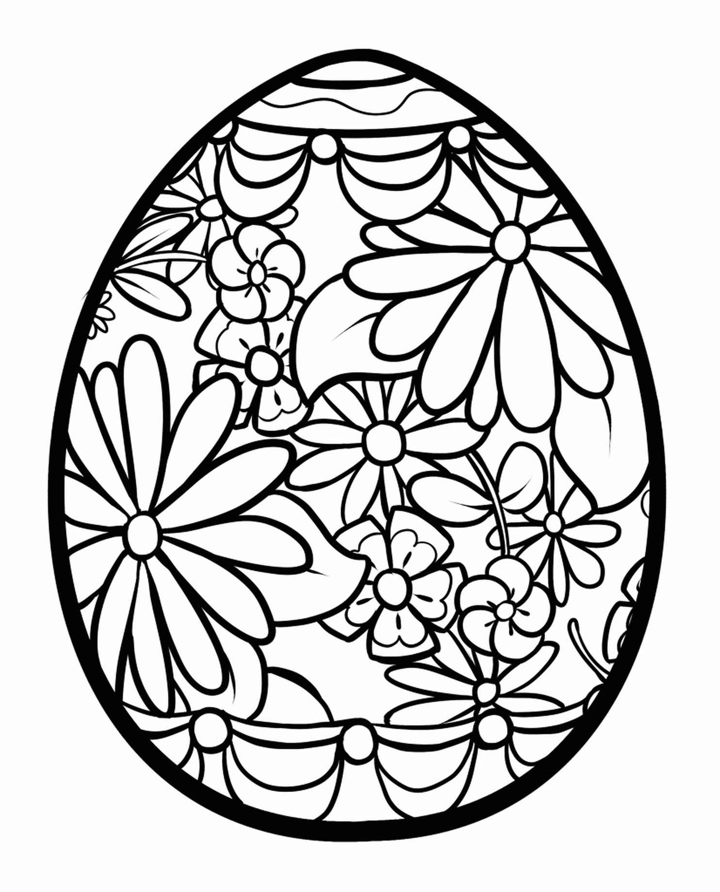 Fancy Patterned Easter Egg Coloring Page