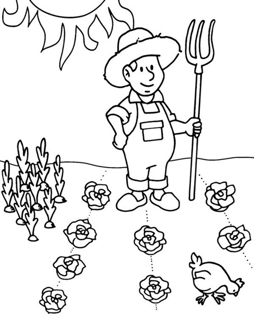 Farmer Coloring Page In The Field