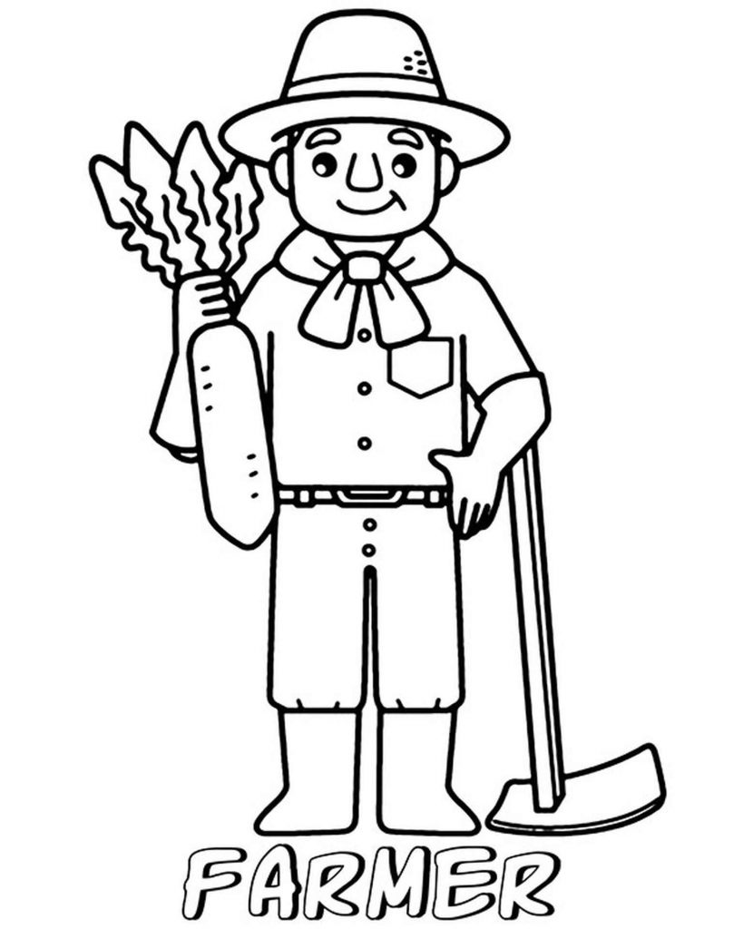 Farmer With A Carrot Coloring Page