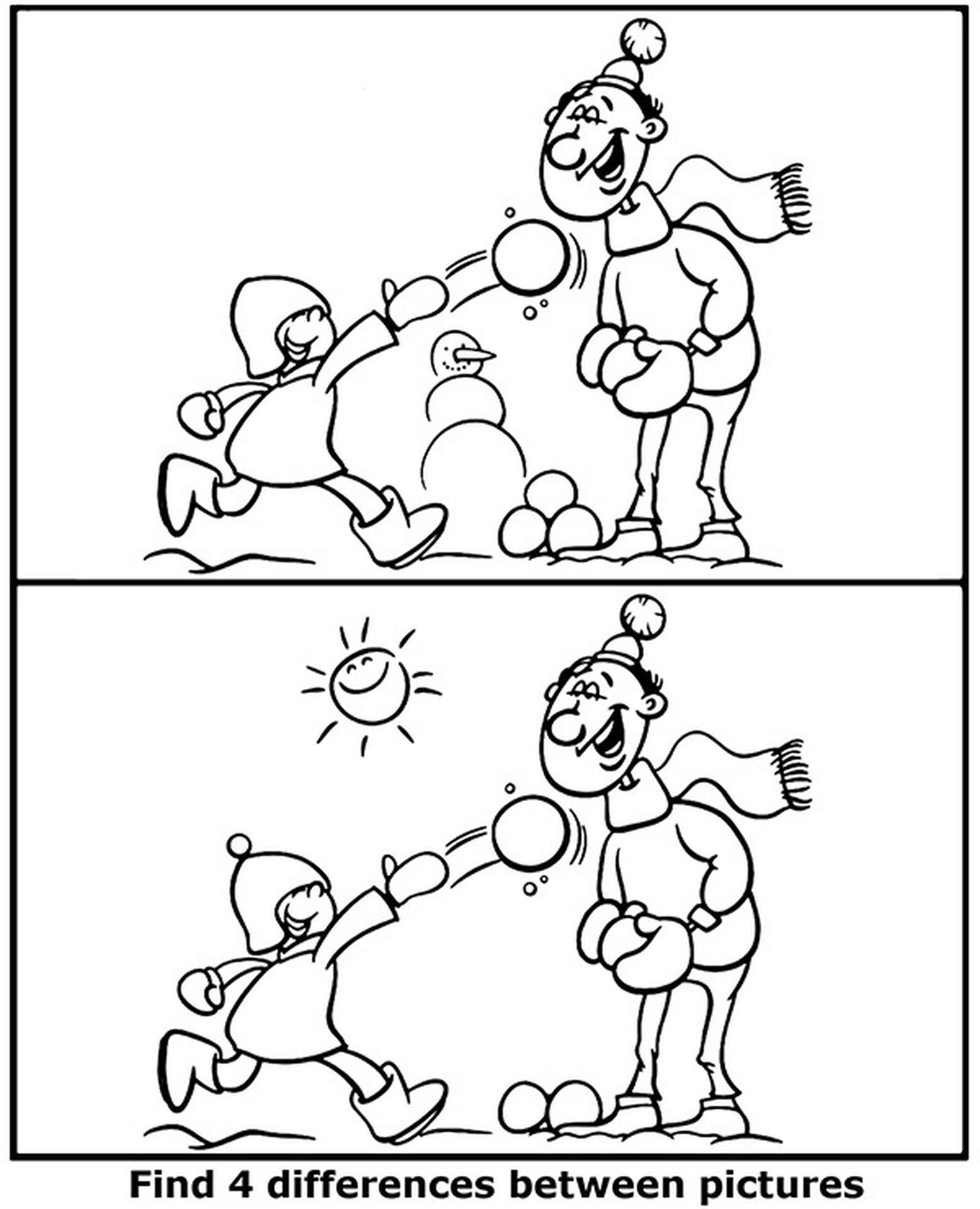 Find 4 Differences Between Pictures Winter Coloring Page