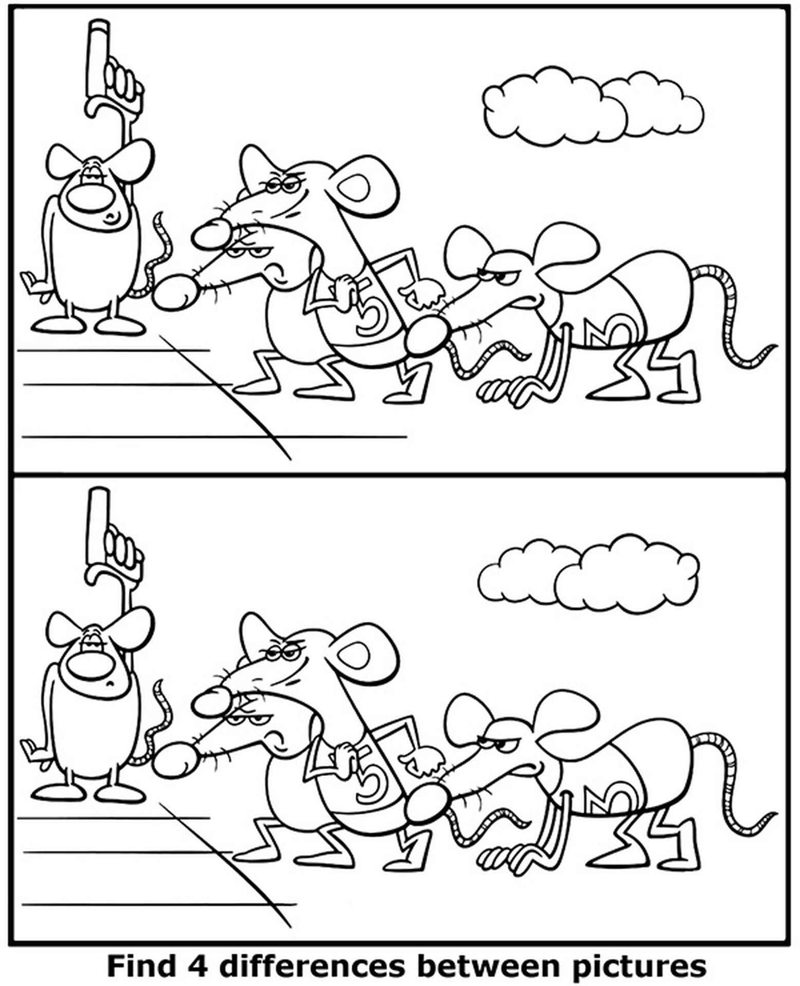 Find 4 Differences Race Coloring Page