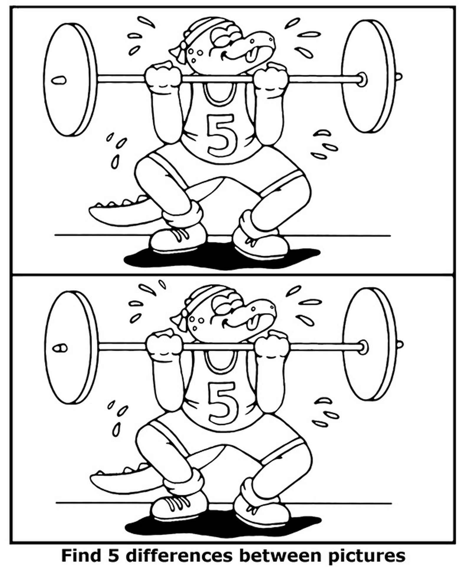 Find 5 Differences Weightlifting Coloring Page