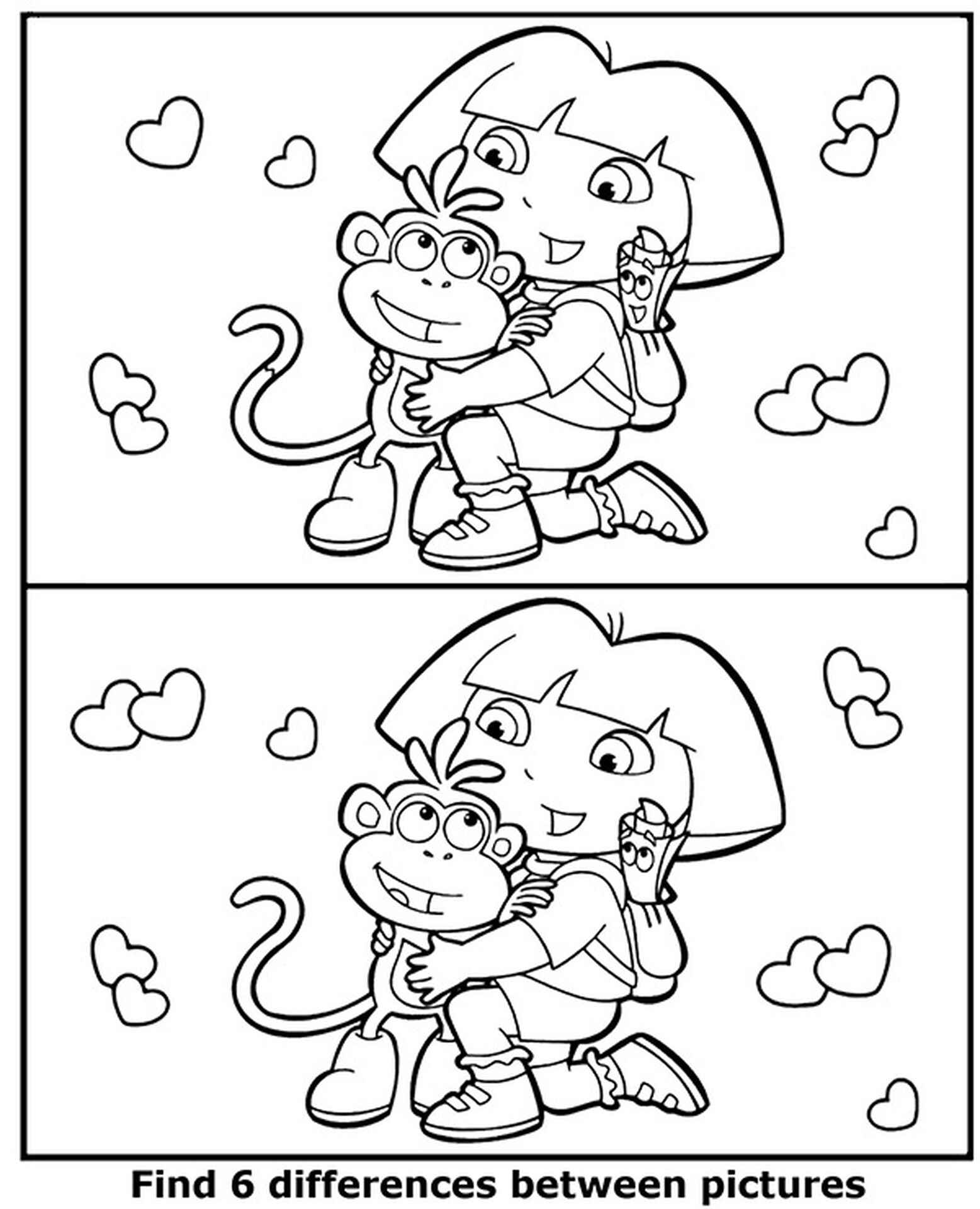 Find 6 Differences Between Pictures Dora Coloring Page