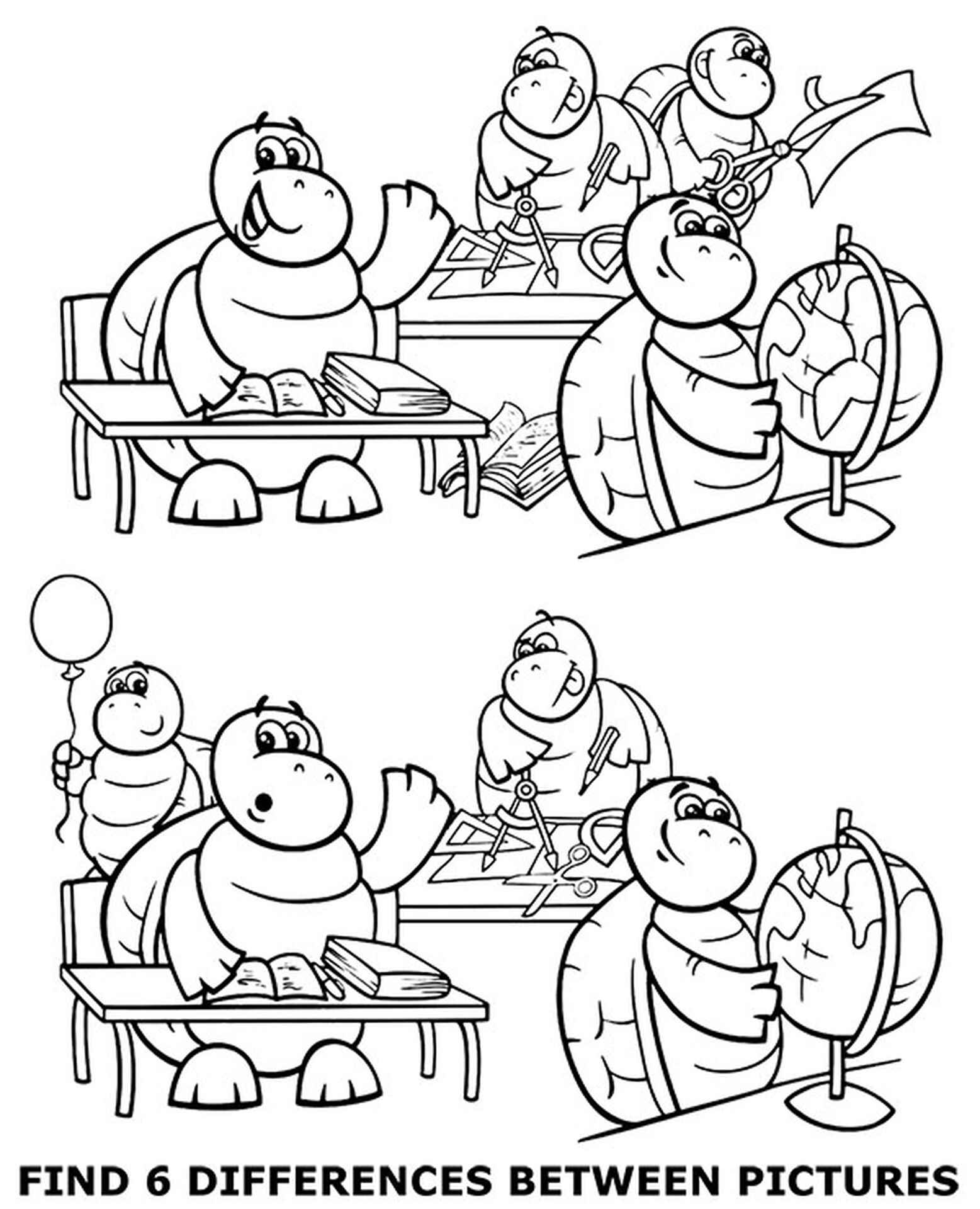 Find 6 Differences Coloring Page