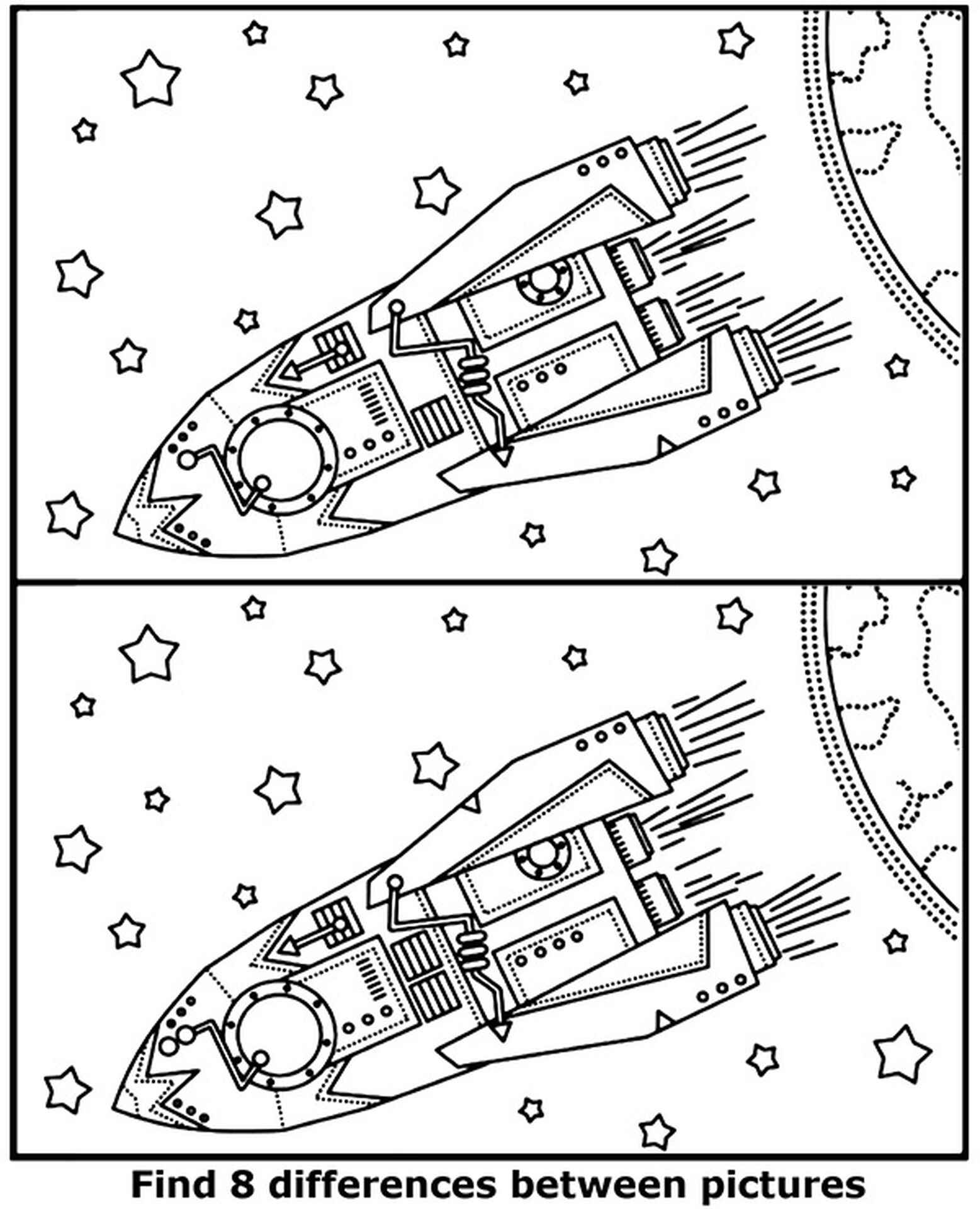 Find 8 Differences Rocket Coloring Page
