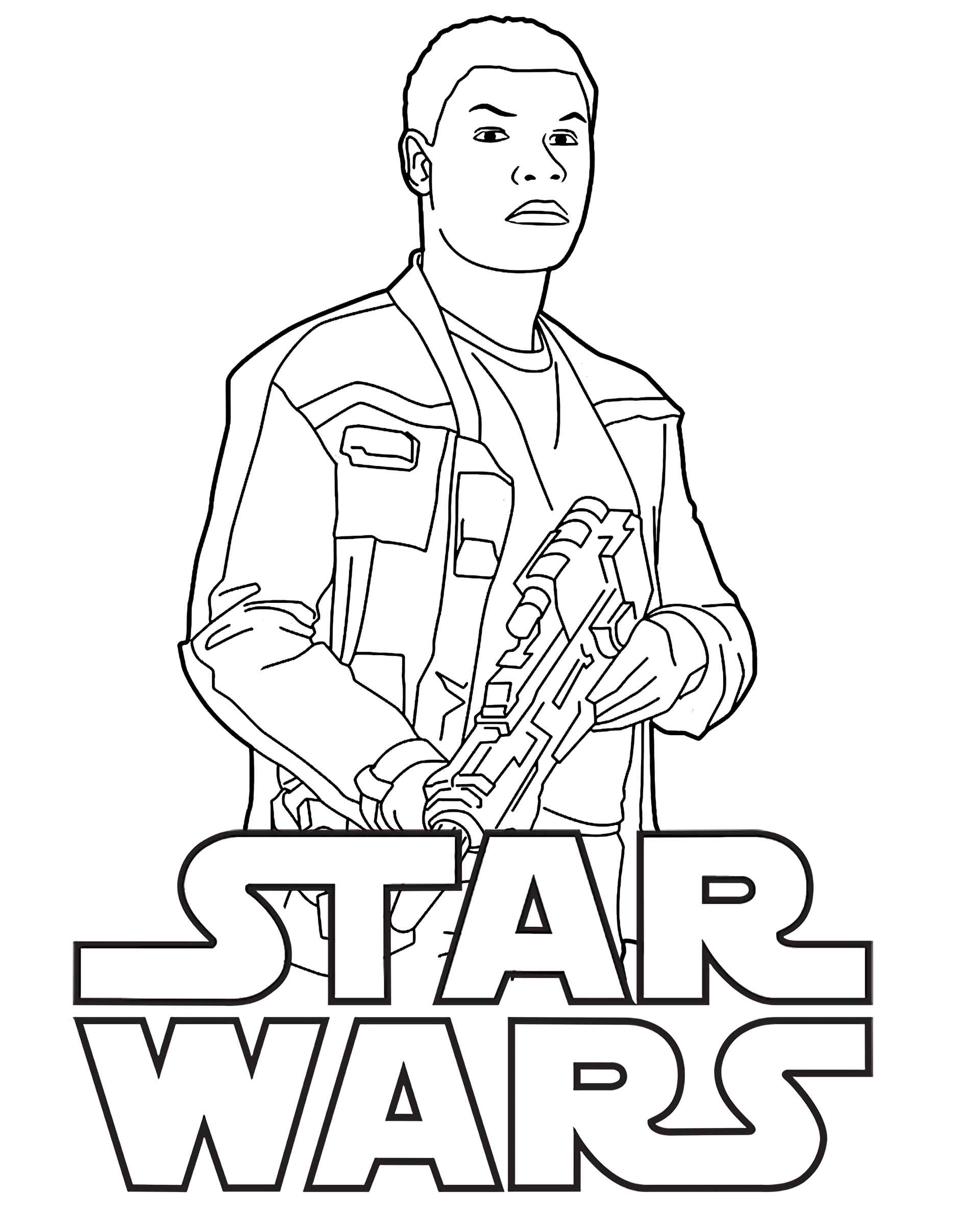 Finn In Star Wars With Logo Coloring Page