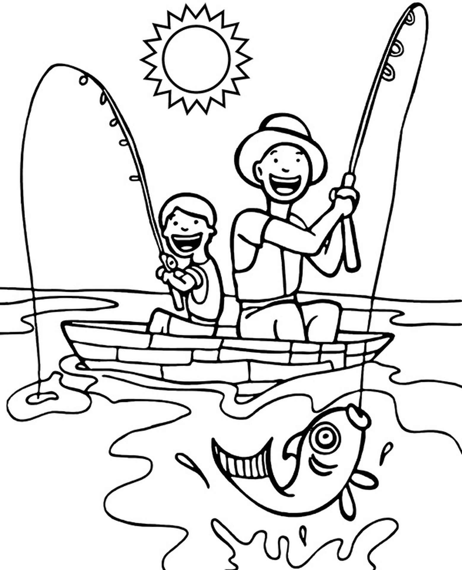 Fishing From Boat Coloring Page