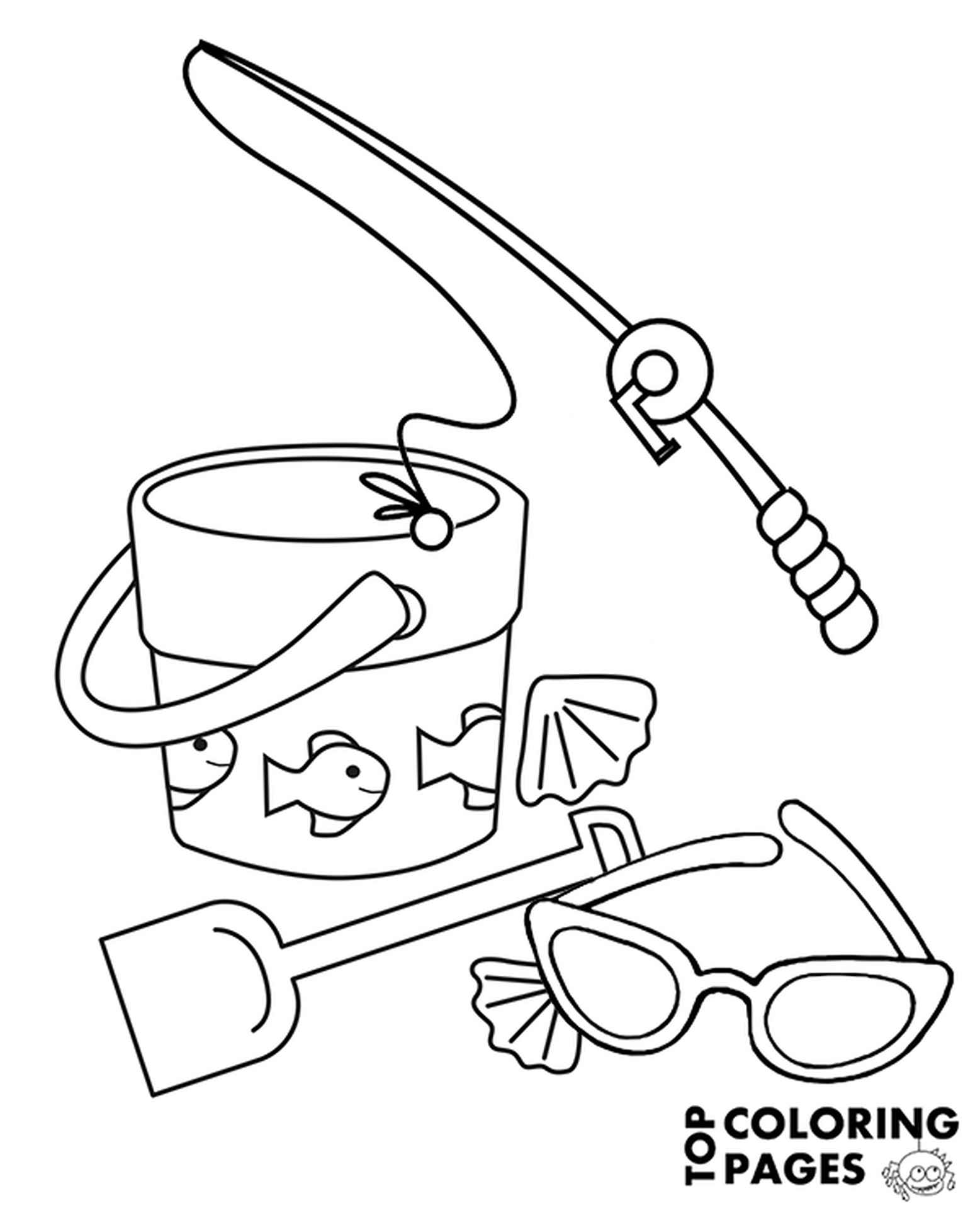 Fishing Rod Sunglasses Coloring Page
