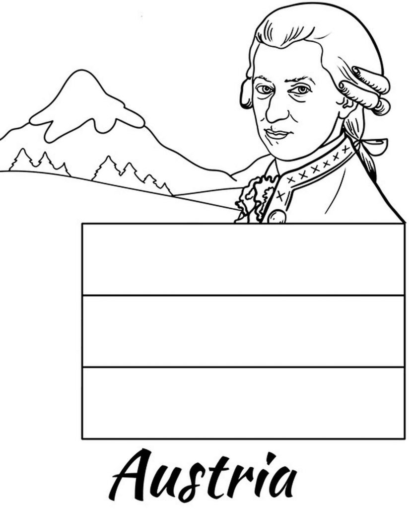 Flag Of Austria, Famous Composer Mozart And Mountains Coloring Pages