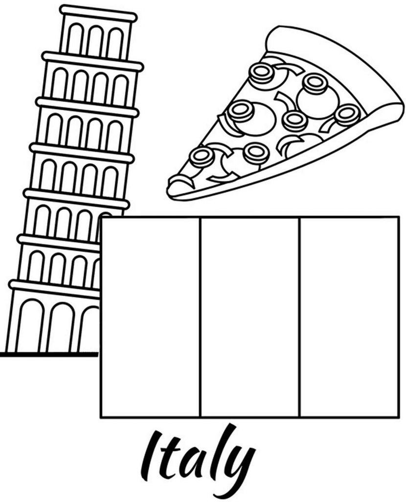 Flag Of Italy, Leaning Tower Of Pisa And Pizza Coloring Page