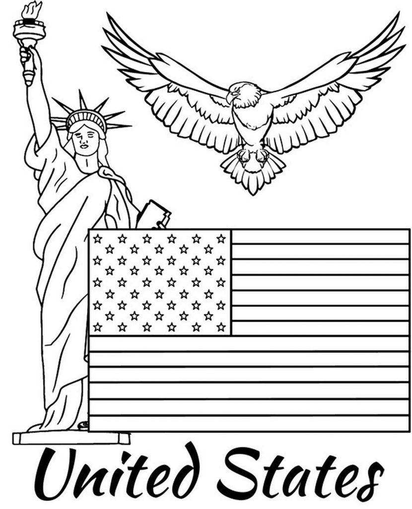 Flag Of The United States Of America, Statue Of Liberty And Eagle Coloring Page