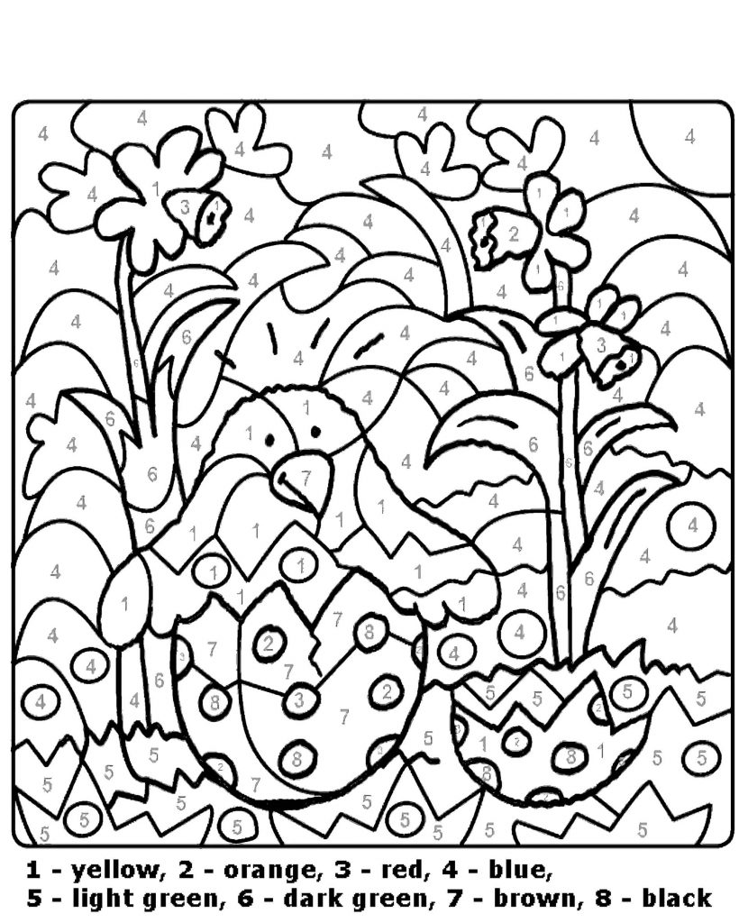 Flowers Color By Number Coloring Page