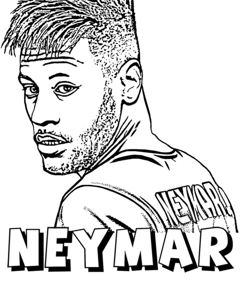 Footballer Neymar Psg With Name Coloring Page