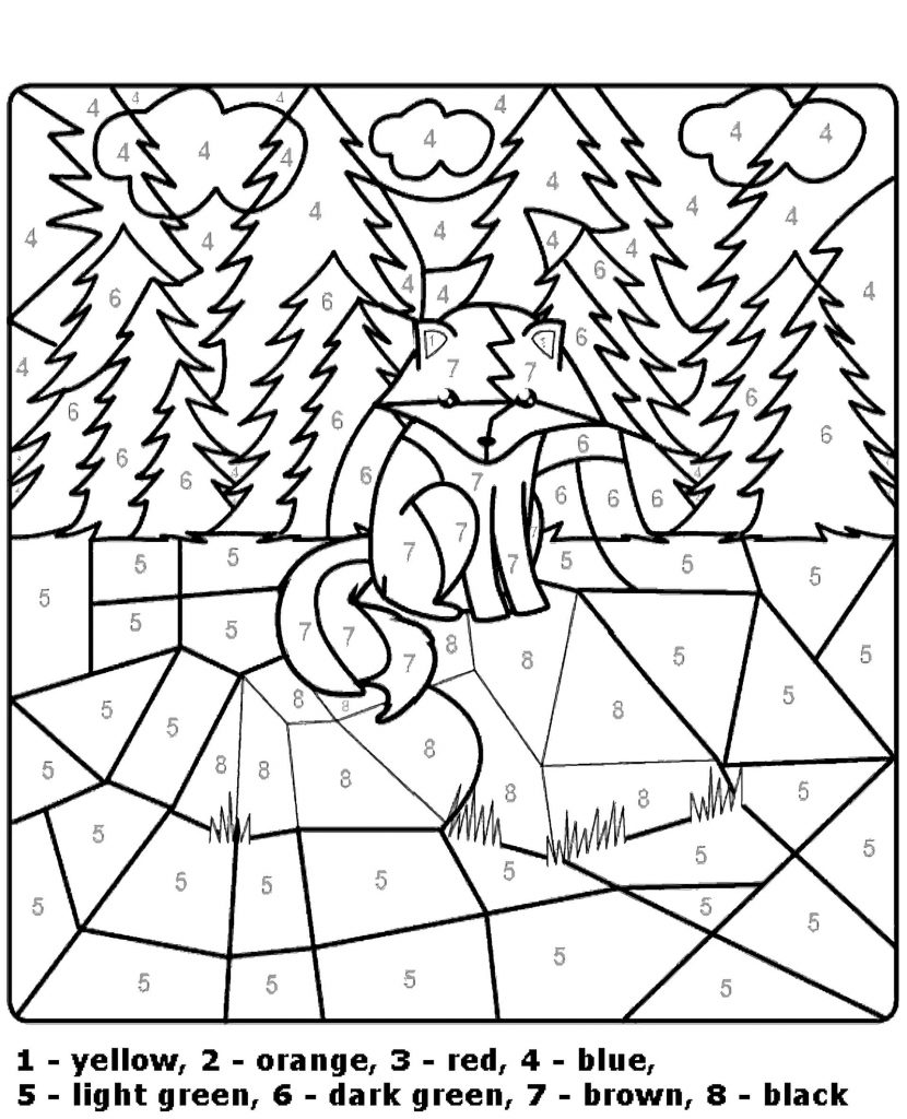 Forest Color By Number Coloring Page
