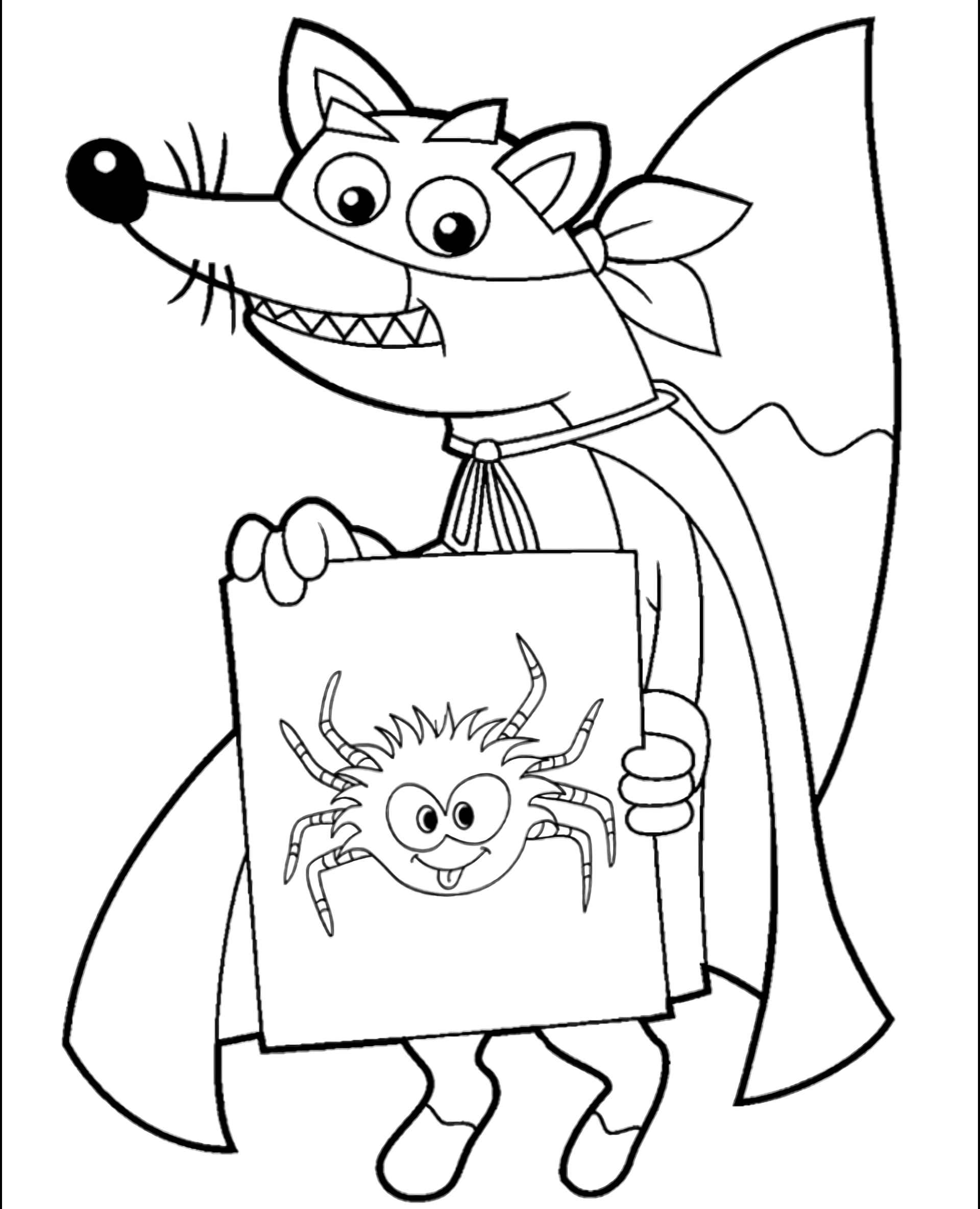 Fox Swiper Painted A Spider Coloring Page