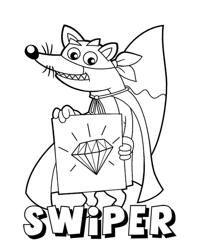 Fox Swiper Painted Diamond Coloring Page