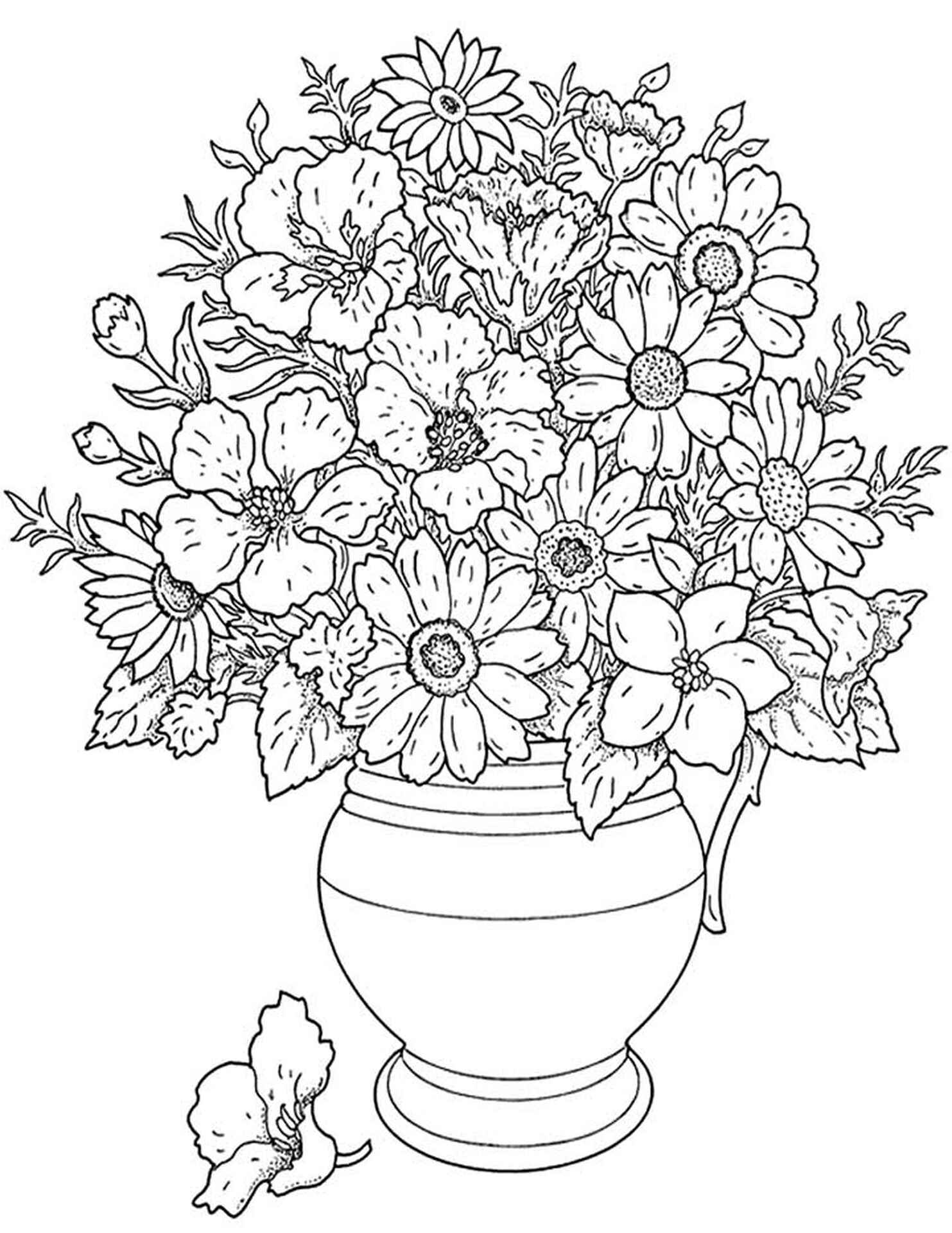 Free Coloring Pages Adults Flowers