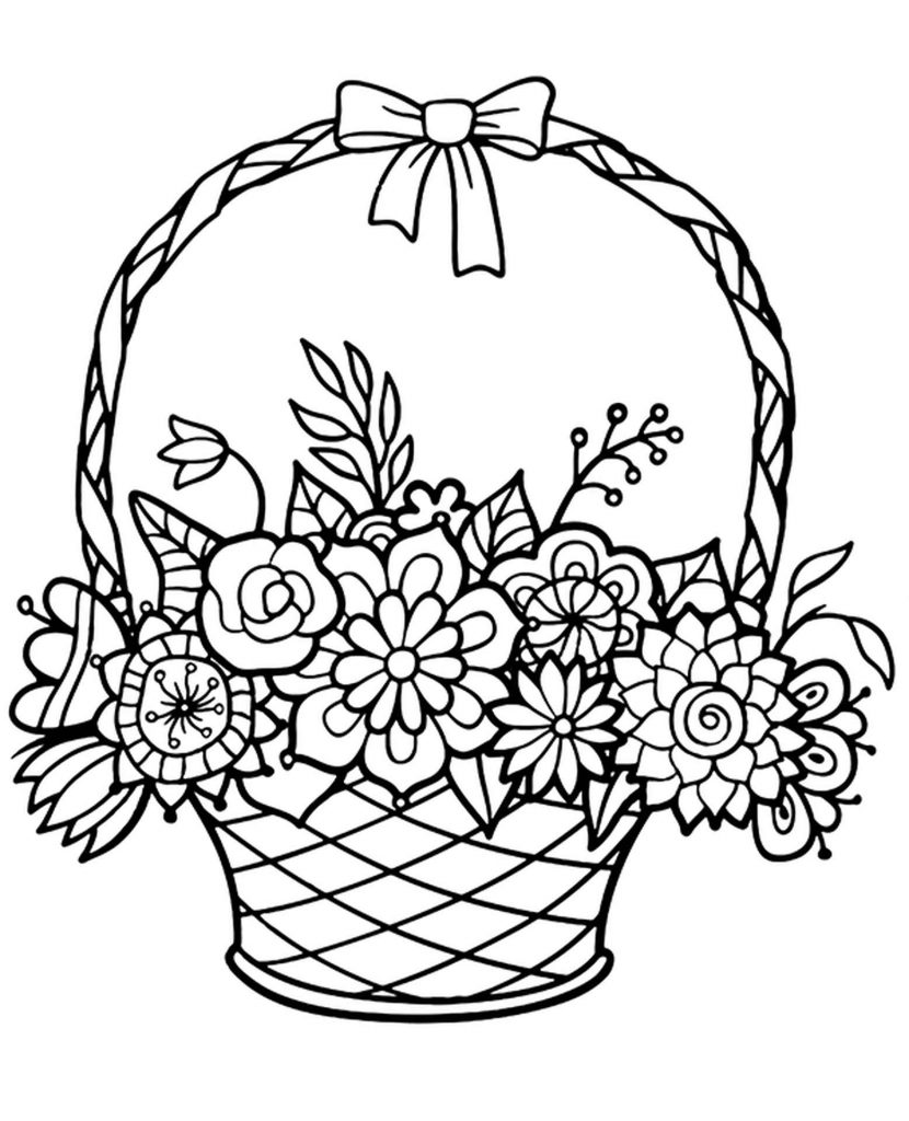 Full Basket Of Flowers Coloring Sheets