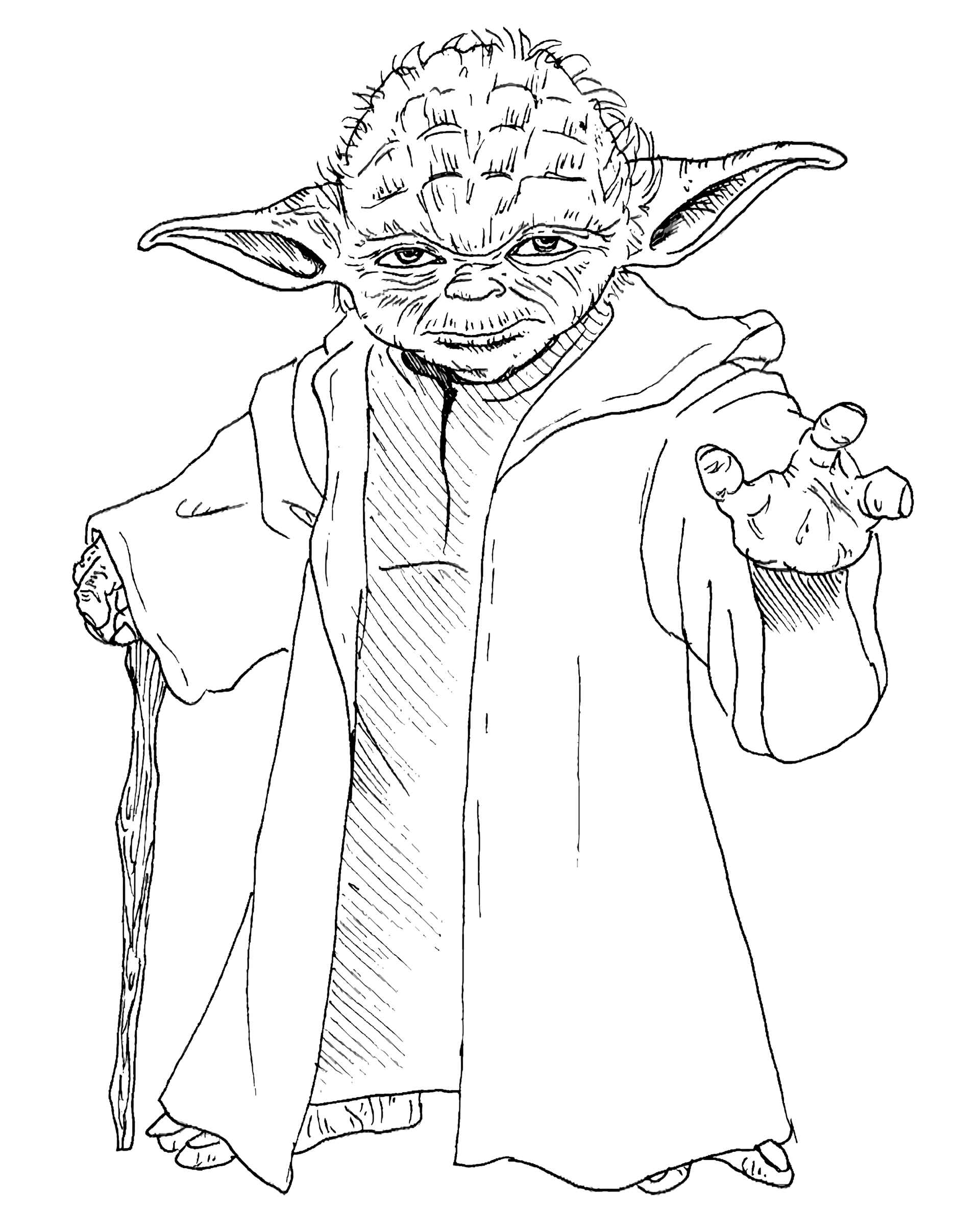 Full-Length Master Yoda From Star Wars Coloring Page